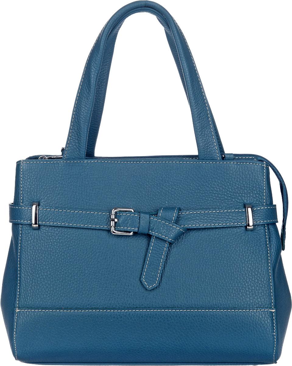 Сумка женская Afina, цвет: синий. 114114Изысканная женская сумка Afina выполнена из натуральной кожи. Сумка закрывается на замок-молнию. Удобные ручки крепятся к корпусу сумки. Внутри два глубоких отделения, разделенные карманом-средником на молнии. Вместительные внутренние отделения содержат два накладных кармана для телефона и мелких принадлежностей, а также врезной карман на молнии. Дно дополнено металлическими ножками, защищающими изделие от повреждений. Снаружи на задней стенке сумки размещен вшитый карман на молнии. Сумка оснащена съемным плечевым ремнем регулируемой длины, который позволит носить изделие как в руках, так и на плече. Модель декорирована кожаным ремешком с пряжкой серебристого цвета. Практичная и стильная сумка прекрасно завершит ваш образ.