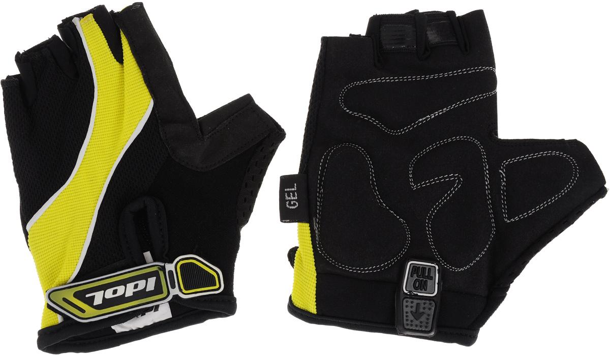 Перчатки велосипедные Idol, женские, цвет: черный, желтый. Размер M1502Удобные женские велосипедные перчатки без пальцев Idol предназначены для тех, кто занимается велоспортом, велотуризмом или просто катается на велосипеде. Рабочая поверхность велоперчаток выполнена из синтетической кожи, а верхняя часть - из лайкры, хорошо отводящей влагу и, благодаря своей упругости, плотно сидящей на руке. На запястьях перчатки фиксируются прочными липучками. Для удобного одевания каждая перчатка оснащена системой Pull On. Высокое качество, технически совершенные материалы, оригинальный стильный дизайн, функциональность и долговечность выделяют велоперчатки Idol среди прочих.