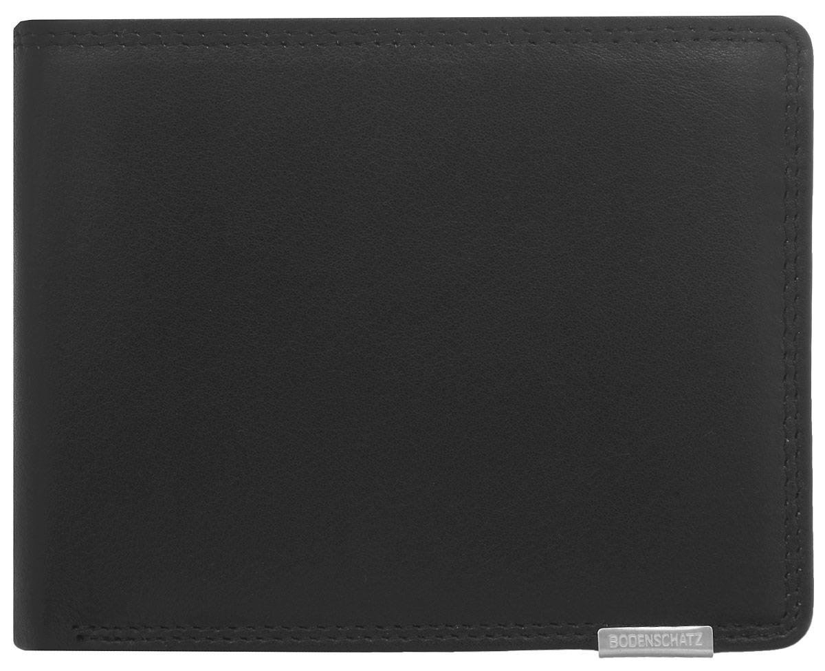 Портмоне мужское Bodenschatz, цвет: черный. 8-591/018-591/01Практичное портмоне Bodenschatz изготовлено из натуральной кожи и оформлено металлической пластиной с гравировкой в виде логотипа бренда. Изделие раскладывается пополам, внутри содержит два отделения для купюр, кармашек для монет, закрывающийся клапаном на кнопку, потайной кармашек на застежке-молнии и блок для мелких документов. Блок для документов застегивается хлястиком на кнопку, содержит два сетчатых кармана, 9 карманов для пластиковых карт и три кармашка для документов. Это элегантное портмоне непременно подойдет к вашему образу и порадует простотой, стилем и функциональностью.