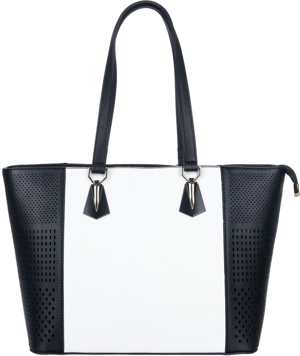 Сумка женская Orsa Oro, цвет: черный, белый. D-225/29D-225/29Изысканная женская сумка Orsa Oro выполнена из экокожи с перфорацией. Сумка закрывается на замок-молнию. Удобные ручки крепятся к корпусу сумки на металлическую фурнитуру золотистого цвета. Вместительное внутреннее отделение содержит два накладных кармана для телефона и мелких принадлежностей и врезной карман на молнии. Практичная и стильная сумка прекрасно завершит ваш образ.