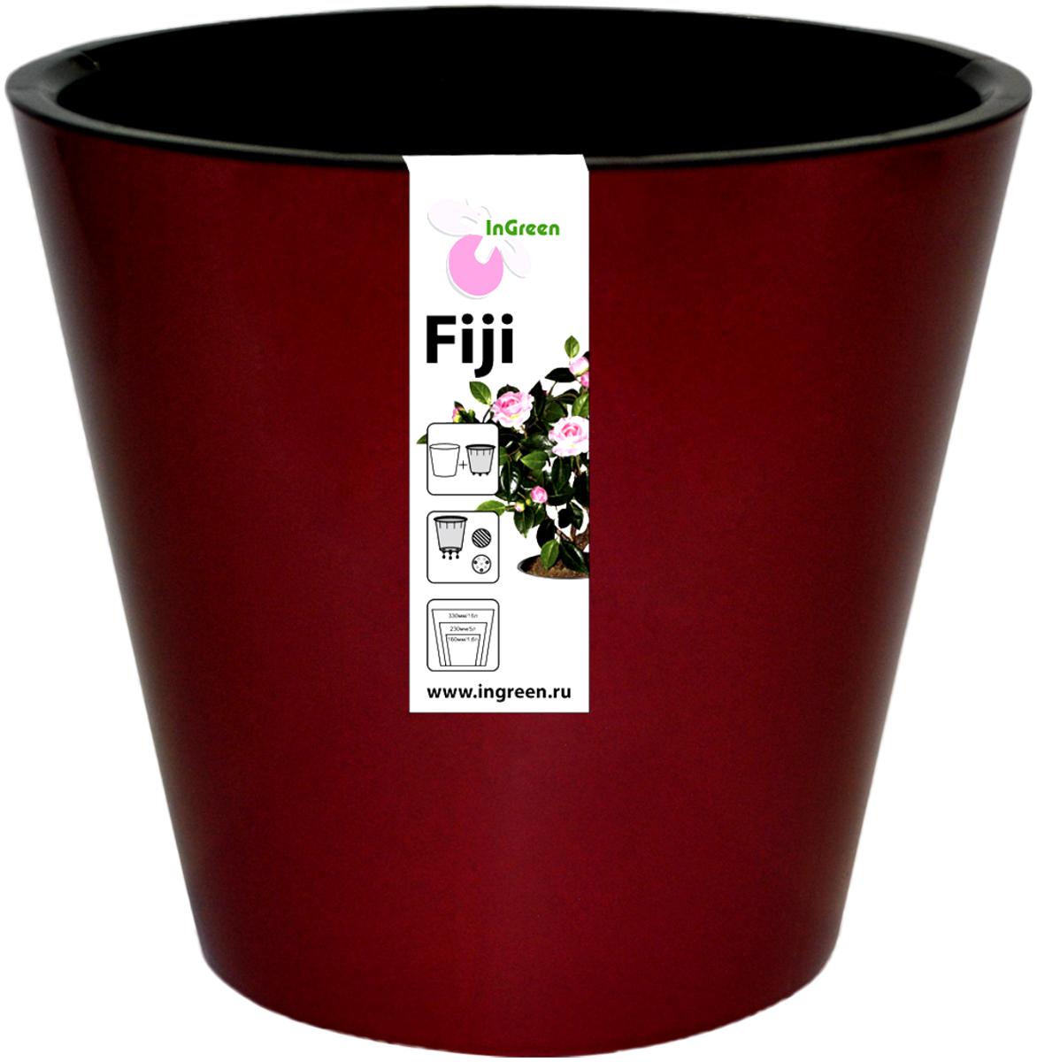 Горшок для цветов InGreen Фиджи, с ситемой атополива, цвет: бордовый, диаметр 23 смING1555БРГоршок InGreen Фиджи, выполненный из высококачественного пластика, предназначен для выращивания комнатных цветов, растений и трав. Специальная конструкция обеспечивает вентиляцию в корневой системе растения, а дренажные отверстия позволяют выходить лишней влаге из почвы. Изделие состоит из цветного кашпо и внутреннего горшка. Растение высаживается во внутренний горшок и вставляется в кашпо. Инновационная система автополива обладает рядом преимуществ: экономит время при уходе за растением, вода не протекает при поливе и нет необходимости в подставке, корни не застаиваются в воде. Такой горшок порадует вас современным дизайном и функциональностью, а также оригинально украсит интерьер любого помещения. Объем горшка: 5 л. Диаметр горшка (по верхнему краю): 23 см. Высота горшка: 20,8 см.