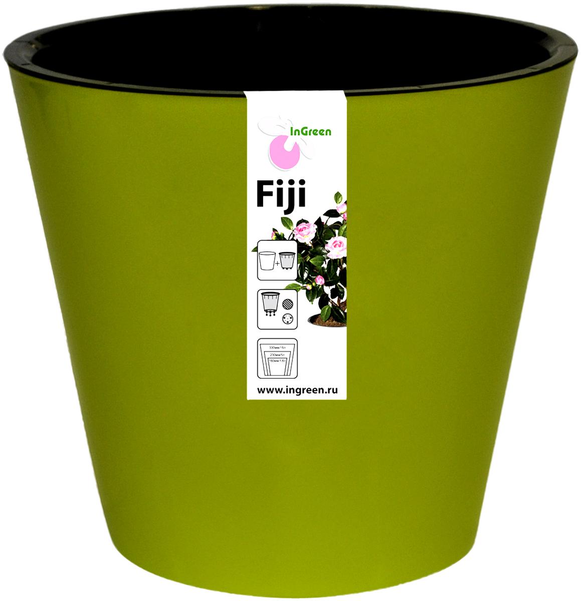 Горшок для цветов InGreen Фиджи, с ситемой атополива, цвет: зелено-желтый, диаметр 23 смING1555СЛГоршок InGreen Фиджи, выполненный из высококачественного пластика, предназначен для выращивания комнатных цветов, растений и трав. Специальная конструкция обеспечивает вентиляцию в корневой системе растения, а дренажные отверстия позволяют выходить лишней влаге из почвы. Изделие состоит из цветного кашпо и внутреннего горшка. Растение высаживается во внутренний горшок и вставляется в кашпо. Инновационная система автополива обладает рядом преимуществ: экономит время при уходе за растением, вода не протекает при поливе и нет необходимости в подставке, корни не застаиваются в воде. Такой горшок порадует вас современным дизайном и функциональностью, а также оригинально украсит интерьер любого помещения. Объем горшка: 5 л. Диаметр горшка (по верхнему краю): 23 см. Высота горшка: 20,8 см.