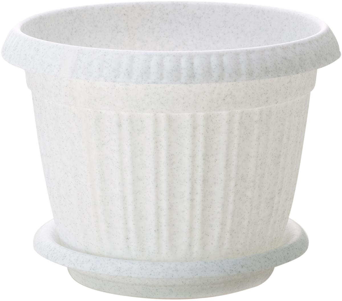 Горшок для цветов InGreen Таити, с подставкой, цвет: мраморный, диаметр 18 смING41018FМРГоршок InGreen Таити, выполненный из высококачественного полипропилена (пластика), предназначен для выращивания комнатных цветов, растений и трав. Специальная конструкция обеспечивает вентиляцию в корневой системе растения, а дренажные отверстия позволяют выходить лишней влаге из почвы. Такой горшок порадует вас современным дизайном и функциональностью, а также оригинально украсит интерьер любого помещения. Диаметр горшка (по верхнему краю): 18 см. Высота горшка: 13,8 см.
