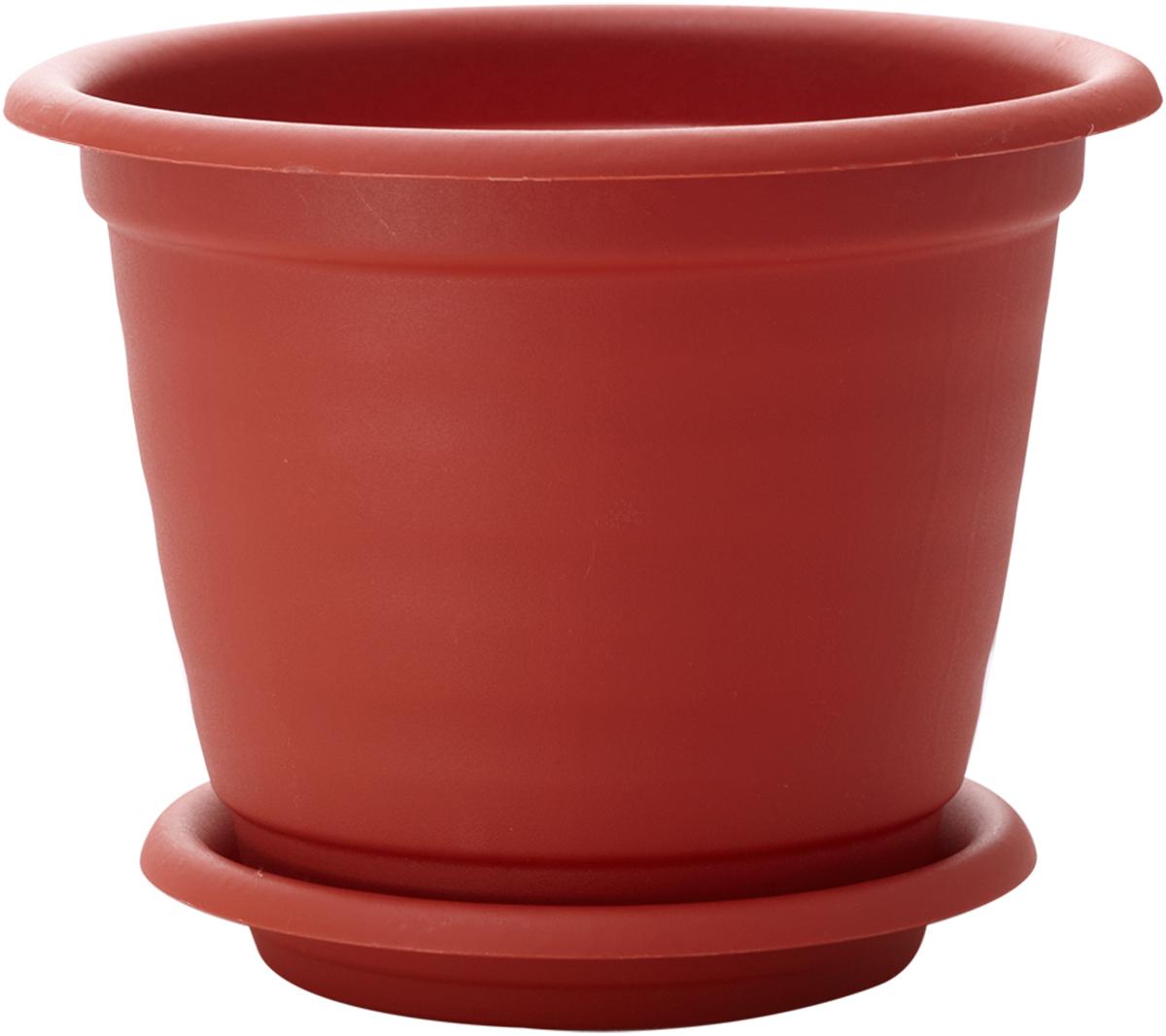 """Горшок для цветов InGreen """"Натура"""", с поддоном, цвет: терракотовый, диаметр 14 см ING43014FТР"""