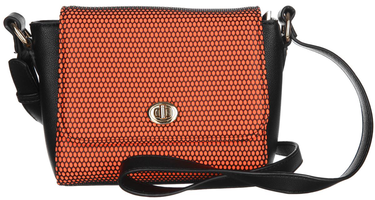 Сумка женская Calipso, цвет: оранжевый, черный. 467-131286-231467-131286-231Оригинальная женская сумка Calipso выполнена из искусственной кожи с отделкой контрастного цвета. Сумка закрывается на клапан с вертушкой. Состоит из одного отделения, застегивающегося на застежку-молнию. Внутри располагаются прорезной карман на застежке-молнии и накладной открытый карман для мелочей. На задней стенке сумки расположен прорезной карман на застежке-молнии. Сумка оснащена несъемным плечевым ремнем с регулируемой длиной. Плоское дно сумки обеспечивает необходимую устойчивость. Сумка - это стильный аксессуар, который подчеркнет вашу изысканность и индивидуальность и сделает ваш образ завершенным. С такой сумочкой вы не останетесь незамеченной.