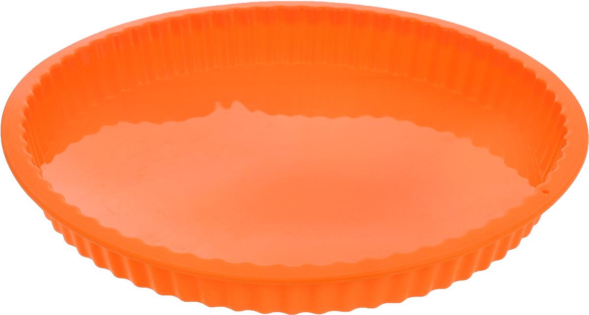 Форма для выпечки кекса Mayer & Boch, силиконовая, цвет: оранжевый, диаметр 27,5 см21968_оранжевыйКруглая форма Mayer & Boch будет отличным выбором для всех любителей выпечки. Благодаря тому, что форма изготовлена из силикона, готовую выпечку вынимать легко и просто. Стенки формы рифленые. Форма прекрасно подходит для выпечки кексов. С такой формой вы всегда сможете порадовать своих близких оригинальной выпечкой. Материал изделия устойчив к фруктовым кислотам, может быть использован в духовках, микроволновых печах, холодильниках (выдерживает температуру от -40°C до 230°C). Антипригарные свойства материала позволяют готовить без использования масла. Можно мыть в посудомоечной машине. Внешний диаметр: 27,5 см. Высота стенок: 3 см.