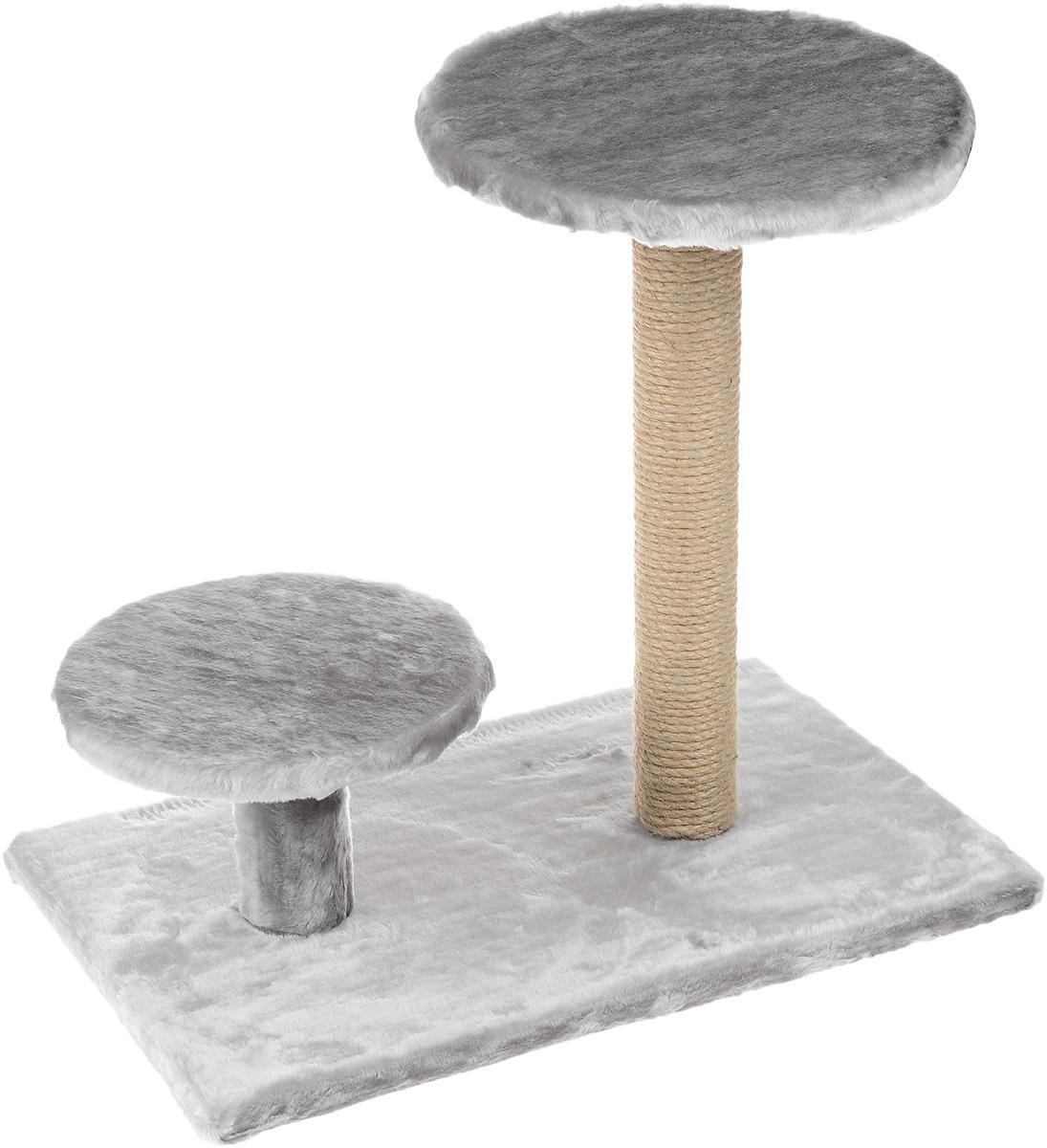 Когтеточка Пушок, с круглой площадкой и ступенькой, цвет: серый, 60 х 36 х 54 см4640000931759Когтеточка Пушок поможет сохранить мебель и ковры в доме от когтей вашего любимца, стремящегося удовлетворить свою естественную потребность точить когти. Когтеточка изготовлена из джута, прямоугольное основание выполнено из ДСП и обтянуто искусственным мехом. Изделие оснащено круглой площадкой и ступенькой. Товар продуман в мельчайших деталях и, несомненно, понравится вашей кошке. Всем кошкам необходимо стачивать когти. Когтеточка - один из самых необходимых аксессуаров для кошки. Для приучения к когтеточке можно натереть ее сухой валерьянкой или кошачьей мятой. Когтеточка поможет вашему любимцу стачивать когти и при этом не портить вашу мебель.