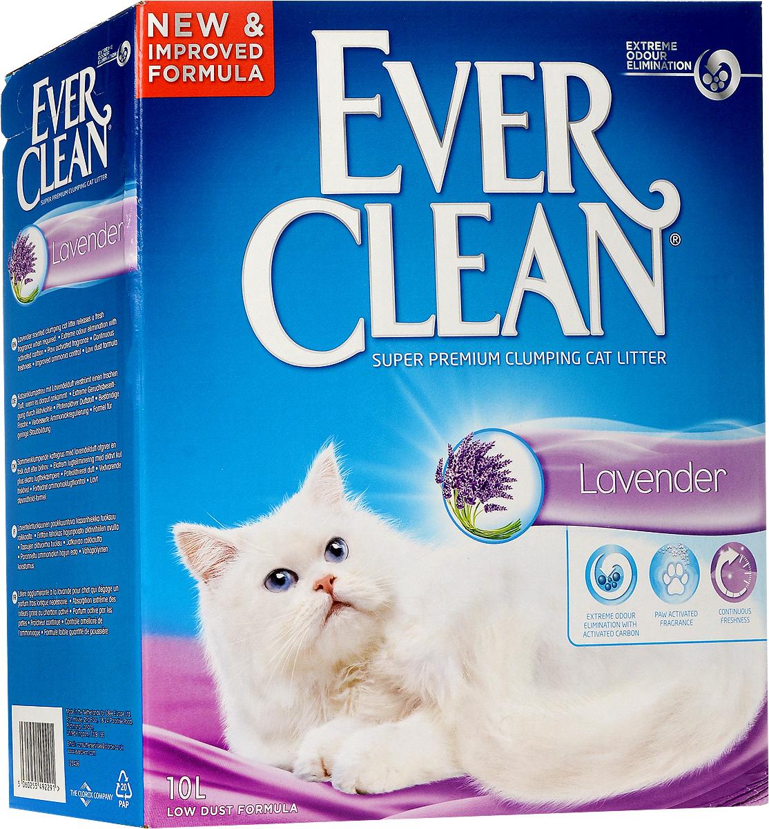 """Наполнитель для кошачьего туалета Ever Clean """"Lavander"""", комкующийся, с ароматом лаванды, 10 кг. 59658 59658_кот лежит"""