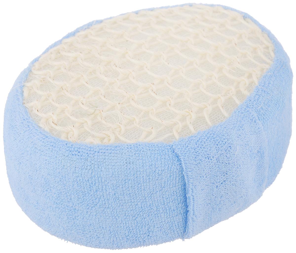 Мочалка Банные штучки, из сизаля и хлопка, цвет: голубой40091_голНатуральная мочалка Банные штучки выполнена из волокна мексиканской агавы - сизаля. Предназначена для интенсивного, антицеллюлитного массажа, обладает эффектом скраба. Обратная сторона мочалки изготовлена из нежного хлопка, бережно очищающего кожу. Идеально подходит для людей, склонных к аллергии, так как не требует использования мыла. Рекомендуется предварительно запарить.
