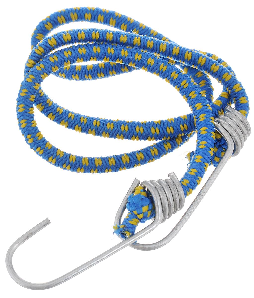 Резинка багажная МастерПроф, с крючками, цвет: синий, желтый, 0,6 х 80 см. АС.020021АС.020021_синий, желтыйБагажная резинка МастерПроф, выполненная из синтетического каучука, оснащена специальными металлическими крючками, которые обеспечивают прочное крепление и не допускают смещения груза во время его перевозки. Изделие применяется для закрепления предметов к багажнику. Такая резинка позволит зафиксировать как небольшой груз, так и довольно габаритный. Температура использования: -15°C до +50°C. Безопасное удлинение: 60%. Толщина резинки: 0,6 см. Длина резинки: 80 см.