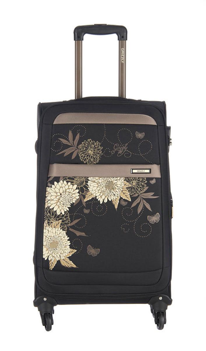 Чемодан Grizzly, цвет: черный, бежевый, 60 л. LT-591-24/3LT-591-24/3Супер-легкий чемодан. Чемодан на четырех колесах, с телескопической ручкой, встроенным кодовым замком, с трансформирующимся основным отделением, объемными карманами в крышке, с внутренним карманом на молнии, регулируемыми фиксирующими стропами на фастексах. В комплект входит водонепроницаемый несессер.