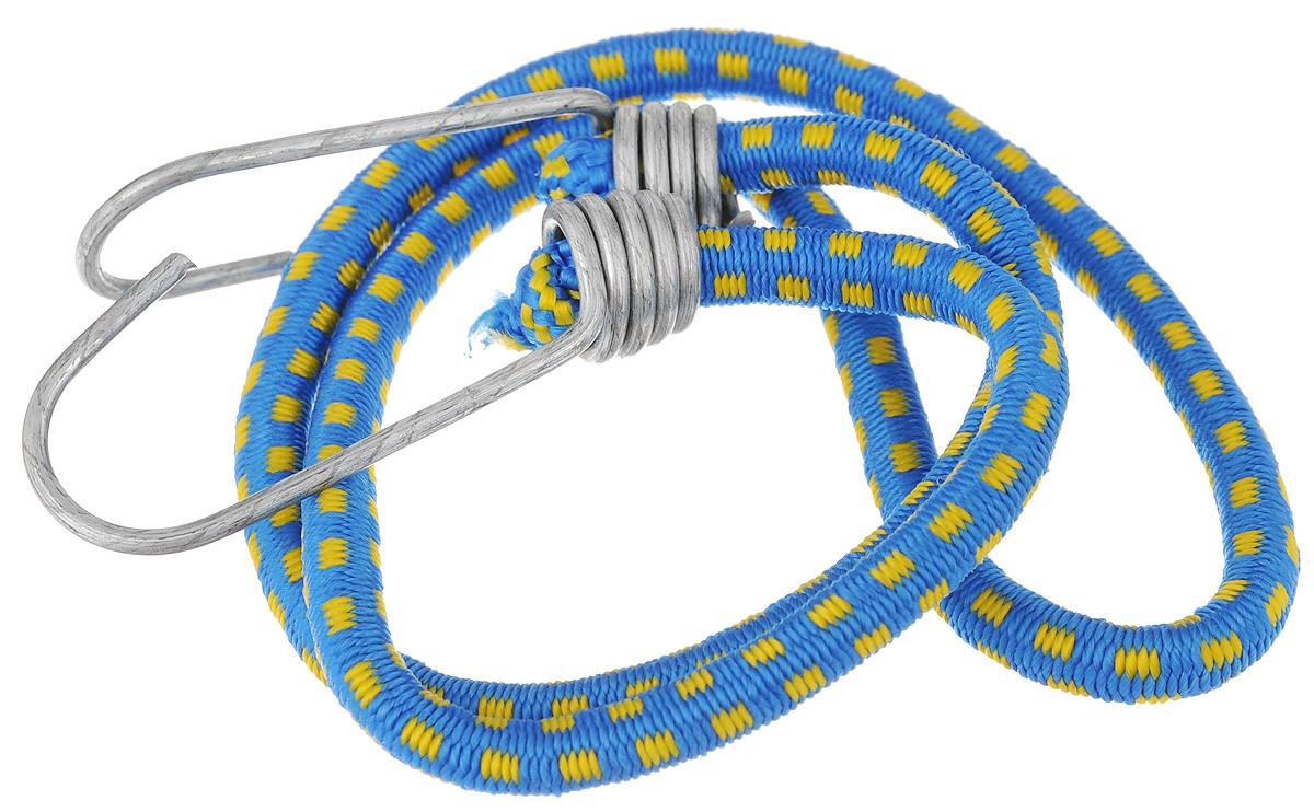 Резинка багажная МастерПроф, с крючками, цвет: синий, желтый, 0,6 х 80 см. АС.020051АС.020051_синий, желтыйБагажная резинка МастерПроф, выполненная из натурального каучука, оснащена специальными металлическими крюками, которые обеспечивают прочное крепление и не допускают смещения груза во время его перевозки. Изделие применяется для закрепления предметов к багажнику. Такая резинка позволит зафиксировать как небольшой груз, так и довольно габаритный. Температура использования: -50°C до +50°C. Безопасное удлинение: 125%. Толщина резинки: 0,6 см. Длина резинки: 80 см.