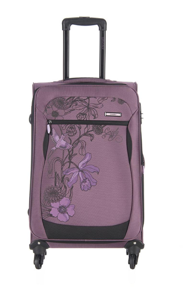 Чемодан Grizzly, цвет: фиолетовый, черный, 40 л. LT-595-20/3LT-595-20/3Супер-легкий чемодан. Чемодан на четырех колесах, с телескопической ручкой, встроенным кодовым замком, с трансформирующимся основным отделением, объемными карманами в крышке, с внутренним карманом на молнии, регулируемыми фиксирующими стропами на фастексах. В комплект входит водонепроницаемый несессер.