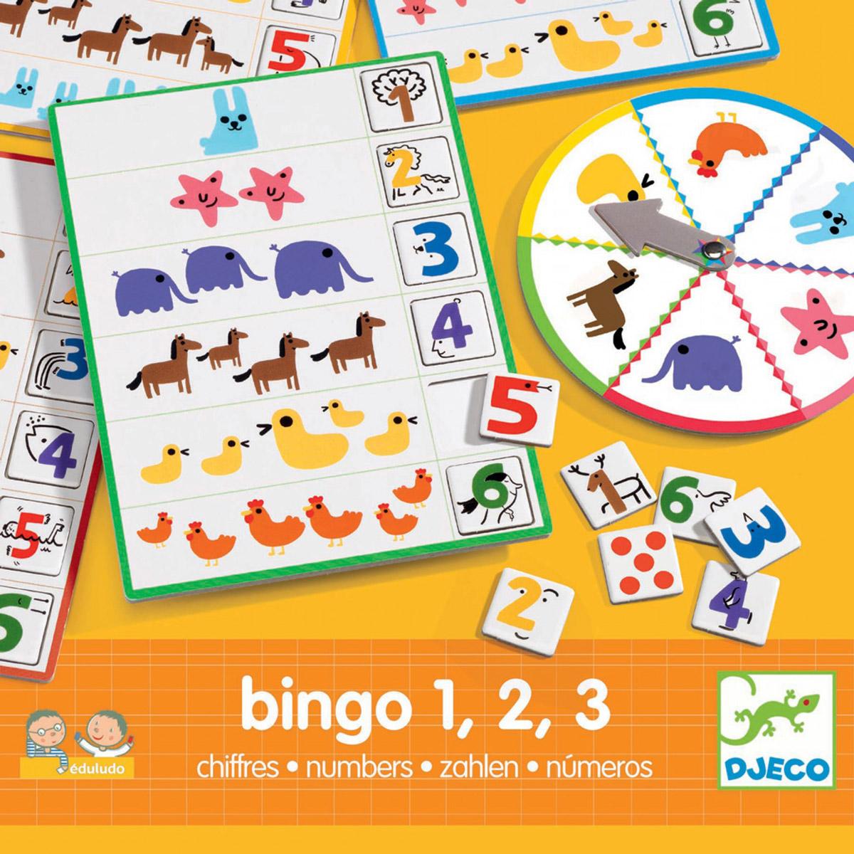 Djeco Настольная игра Числа Бинго08318Игровой набор Djeco Числа Бинго - прекрасная возможность через игровую форму познакомить ребенка с цифрами. Вращайте друг за другом колесо и сочетайте формы в соответствии с карточками и нарисованными фигурками. Выигрывает тот, кто последним соберет свою карточку. Настольная игра Бинго прекрасно подойдет в качестве развлечения для любого детского праздника. Игра развивает логическое мышление, сообразительность и внимательность ребенка, учит его усидчивости и терпению.