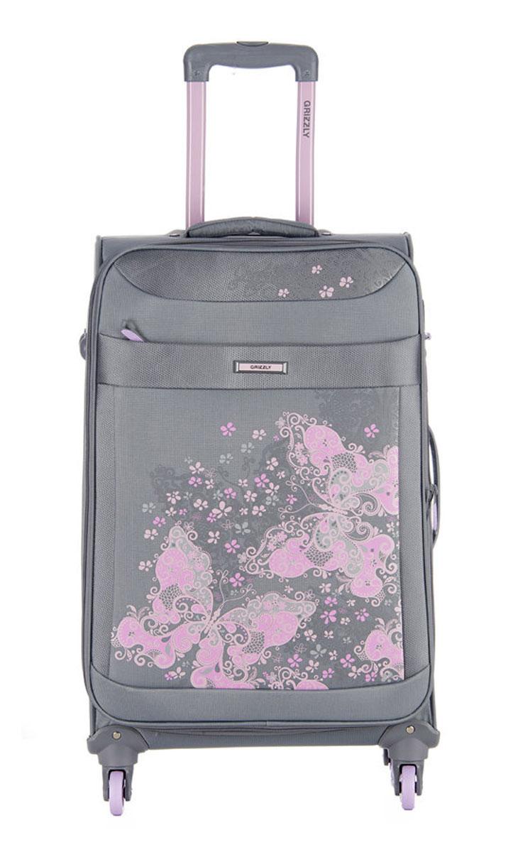 Чемодан Grizzly, цвет: серый, светло-розовый, 40 л. LT-596-20/1LT-596-20/1Супер-легкий чемодан. Чемодан на четырех колесах, с телескопической ручкой, встроенным кодовым замком, с трансформирующимся основным отделением, объемными карманами в крышке, с внутренним карманом на молнии, регулируемыми фиксирующими стропами на фастексах. В комплект входит водонепроницаемый несессер.