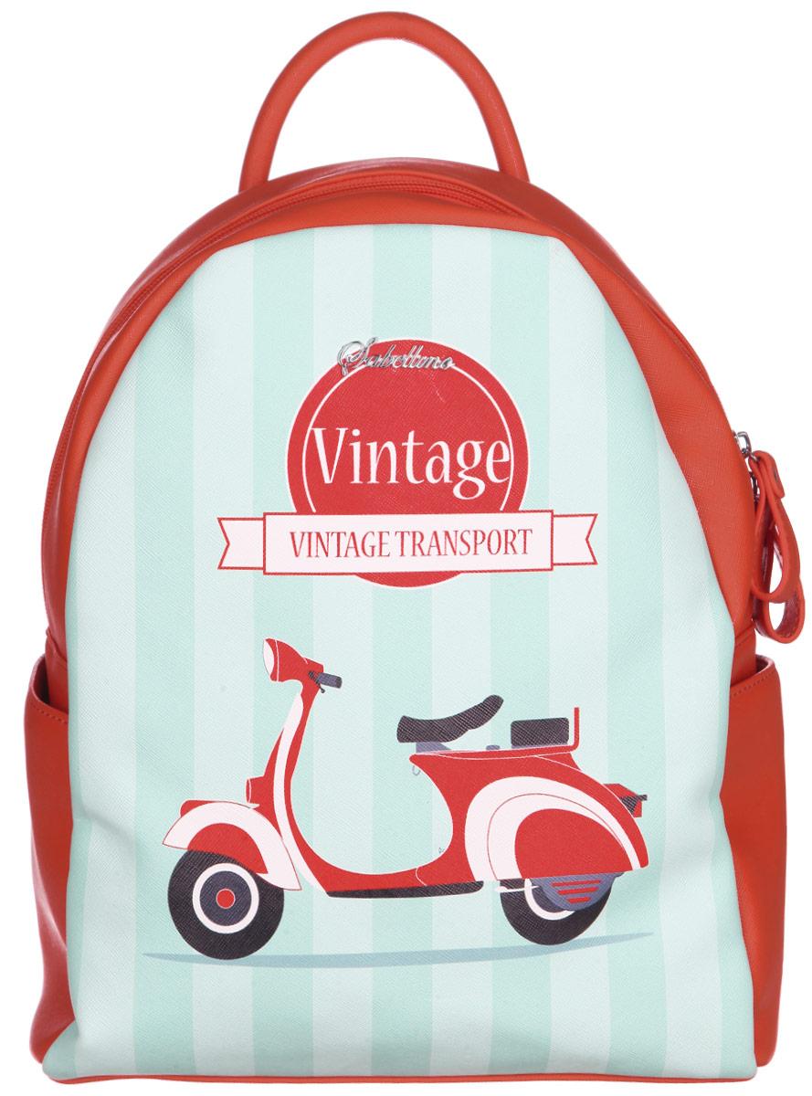Рюкзак женский Sabellino, цвет: красно-оранжевый, ментоловый, белый. ЖС1514210_37