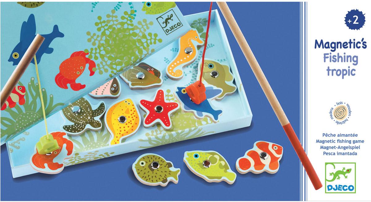 Djeco Магнитная игра Тропическая рыбалка01652В красочной Магнитная игра Djeco Тропическая рыбалка - это интереснейшая развивающая игра, в которой малышу от 2 лет придется ловить красочные тропические рыбки игрушечной удочкой с большим магнитным безопасным крючком. Тропическая рыбалка Djeco поможет не только развить ловкость и моторику малыша, но и даст полезный навык, который, возможно, будет основой будущего хобби. Игра для юных рыболовов, предпочитающих рыбачить где-нибудь в жарких тропиках, и желающих поймать на удочку экзотическую черепаху или морского конька.