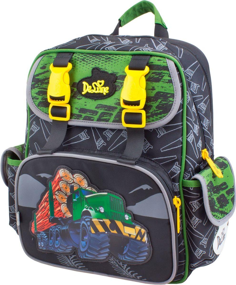 DeLune Рюкзак детский с наполнением цвет черный зеленый 2 предмета51-07_зеленыйДетский рюкзак DeLune имеет мягко-каркасную форму. Эта уникальная технология, позволяющая держать форму даже при полностью пустом рюкзаке, не прогибается и не меняет форму под весом. Эргономичная спинка имеет достаточно жесткий каркас, но при этом очень мягкая и приятная снаружи, что обеспечивает комфортное ношение и защиту спины ребенка. Рюкзак содержит два вместительных отделения, закрывающиеся на застежки-молнии. Высококачественные молнии известной фирмы SBS. В наибольшем отделении находятся две перегородки для тетрадей, фиксирующиеся резинкой, а также три открытых сетчатых кармана и нашивная бирка для заполнения личных данных владельца. Дно рюкзака можно сделать более устойчивым, разложив специальную панель. Внутреннее оснащение рюкзака разработано по специальной системе распределения вещей Open access, что позволяет удобно распределить школьные принадлежности ребенка. Лицевая сторона рюкзака оснащена накладным карманом на застежке-молнии, внутри...