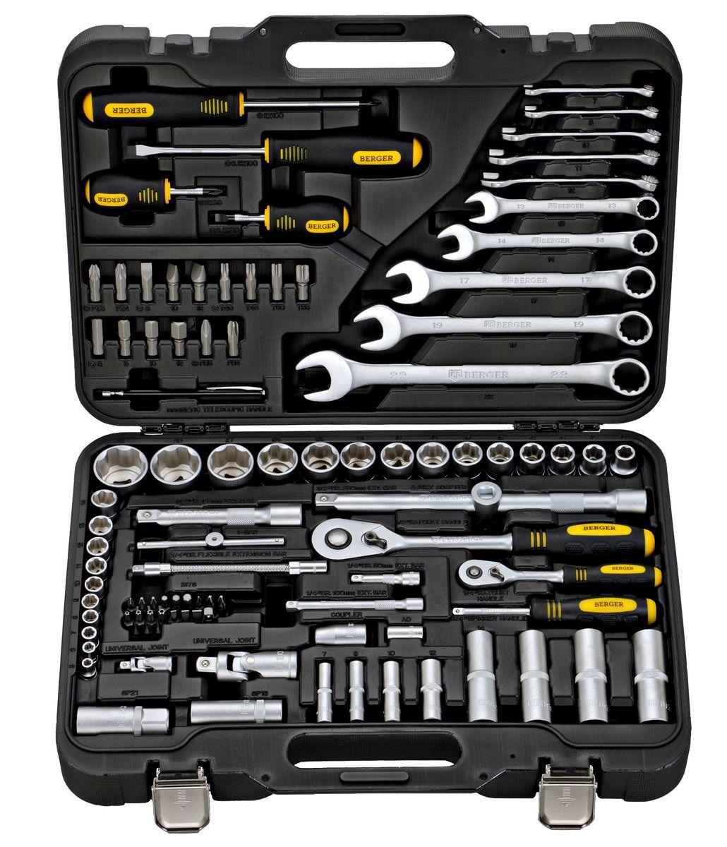 Универсальный набор инструментов Berger, 95 предметов. BG095-1214BG095-1214Универсальный набор инструментов 95 предметов 1/2 - 1/4 BG-095-1214 1/4 1. 10 шт. – 1/4 Головки торцевые 6-гранные Super Lock: 5, 6, 7, 8, 9, 10, 11, 12, 13, 14мм 2. 4 шт. – 1/4 Головки торцевые длинные 6-гранные Super Lock: 7, 8, 10, 12 мм 3. 1 шт. – 1/4 Трещотка (ключ трещоточный с быстрым сбросом) 45 зубов 4. 2 шт. – 1/4 Удлинитель: 50, 100 мм 5. 1 шт. – 1/4 Вороток Т-образный 110 мм 6. 1 шт. – 1/4 Гибкий удлинитель 150 мм 7. 1 шт. – 1/4 Кардан шарнирный 8. 1 шт. – 1/4 Отвертка с присоединительным квадратом 9. 16 шт. – 1/4 Биты: TORX (звездочка): T20, Т27, T25, T30 Ph (крест): 1, 2, 2 Pz (позидрайв): 1, 2, 2 Slot (шлиц): 4, 5.5, 7 HEX (шестигранник): 4, 5, 6 10. 1 шт. – 1/4 Адаптер для бит 11. 1 шт. – 1/4 Переходник для электроинструмента 1/2 12. 14 шт. – 1/2 Головки торцевые 6-гранные Super Lock: 10, 12, 13, 14, 15, 17, 18, 19, 21, 22, 24, 27, 30, 32 мм 13. 4 шт. – 1/2...