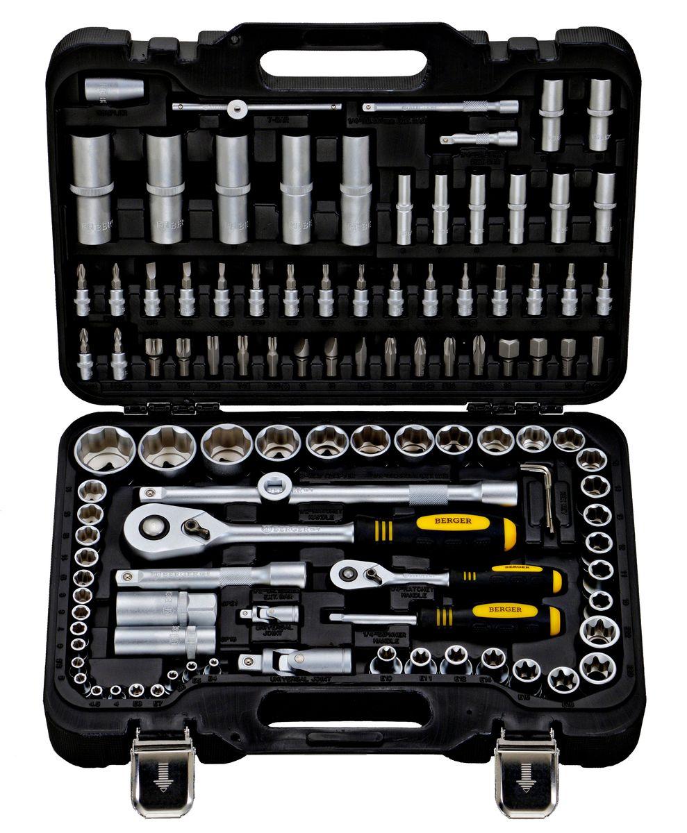 Универсальный набор инструментов Berger, 108 предметов. BG108-1214BG108-1214Универсальный набор инструментов 108 предметов 1/2 - 1/4 BG-108-1214 1/4 1. 13 шт. – 1/4 Головки торцевые 6-гранные Super Lock: 4, 4.5, 5 ,5.5, 6, 7, 8, 9, 10, 11, 12, 13, 14 мм 2. 8 шт. – 1/4 Головки торцевые длинные 6-гранные Super Lock: 6, 7 8, 9, 10, 11 ,12, 13 мм 3. 5 шт. – 1/4 Головки торцевые TORX (звездочка) 6-гранные: E4, E5, E6, E7, E8 4. 2 шт. – 1/4 Удлинитель: 50, 100 мм 5. 1 шт. – 1/4 Трещотка (ключ трещоточный с быстрым сбросом) 45 зубов 6. 1 шт. – 1/4 Отвертка с присоединительным квадратом 7. 1 шт. – 1/4 Кардан шарнирный 8. 1 шт. – 1/4 Вороток Т-образный 110 мм 9. 18 шт. – 1/4 Биты-головки: Hex (шестигранник): 3, 4, 5, 6 Ph (крест): 1, 2 Pz (позидрайв): 1, 2 Slot (шлиц): 4, 5.5, 6.5 Torx (звездочка): T8, T10, T15, T20, T25, T27, T30 1/2 10. 17 шт. – 1/2 Головки торцевые 6-гранные Super Lock: 10, 11, 12, 13, 14, 15, 16, 17, 18, 19, 20, 21, 22, 24, 27, 30, 32 мм 11. 5...
