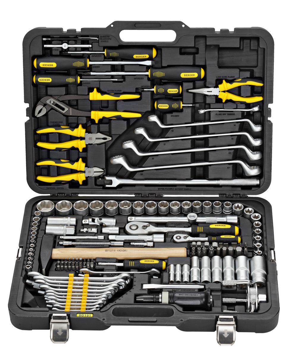 Универсальный набор инструментов Berger, 131 предмет. BG131-1214BG131-1214Универсальный набор инструментов 131 предмет 1/2 - 1/4 BG131-1214 1/4 1. 7 шт. – 1/4 Головки торцевые 6-гранные Super Lock: 6, 7, 8, 9, 10, 11, 12 мм 2. 4 шт. – 1/4 Головки торцевые длинные 6-гранные Super Lock: 8,10,12,13 мм 3. 5 шт. - 1/4 Головки торцевые TORX (звездочка) 6-гранные: E4, E5, E6, E7, E8 4. 1 шт. – 1/4 Трещотка (ключ трещоточный с быстрым сбросом) 45 зубов 5. 1 шт. – 1/4 Вороток Т-образный 110 мм 6. 1 шт. – 1/4 Отвертка с присоединительным квадратом 7. 2 шт. – 1/4 Удлинитель: 50, 100 мм 8. 1 шт. – 1/4 Удлинитель гибкий: 150 мм 9. 1 шт. – 1/4 Кардан шарнирный 10. 1 шт. – 1/4 Адаптер для бит 11. 20 шт. – 1/4 Набор бит: TORX (звездочка): Т6, Т8, Т10, Т15, Т20, Т25, Т30 SLOT (шлиц): 3, 5, 6.5 PH (крест): 0, 1, 2 HEX (шестигранник): 1.5, 2, 2.5, 3, 4, 5, 6 1/2 12. 15 шт. – 1/2 Головки торцевые 6-гранные Super Lock: 13, 14, 15, 16, 17, 18, 19, 20, 21, 22, 24, 25, 27, 30, 32 мм 13....