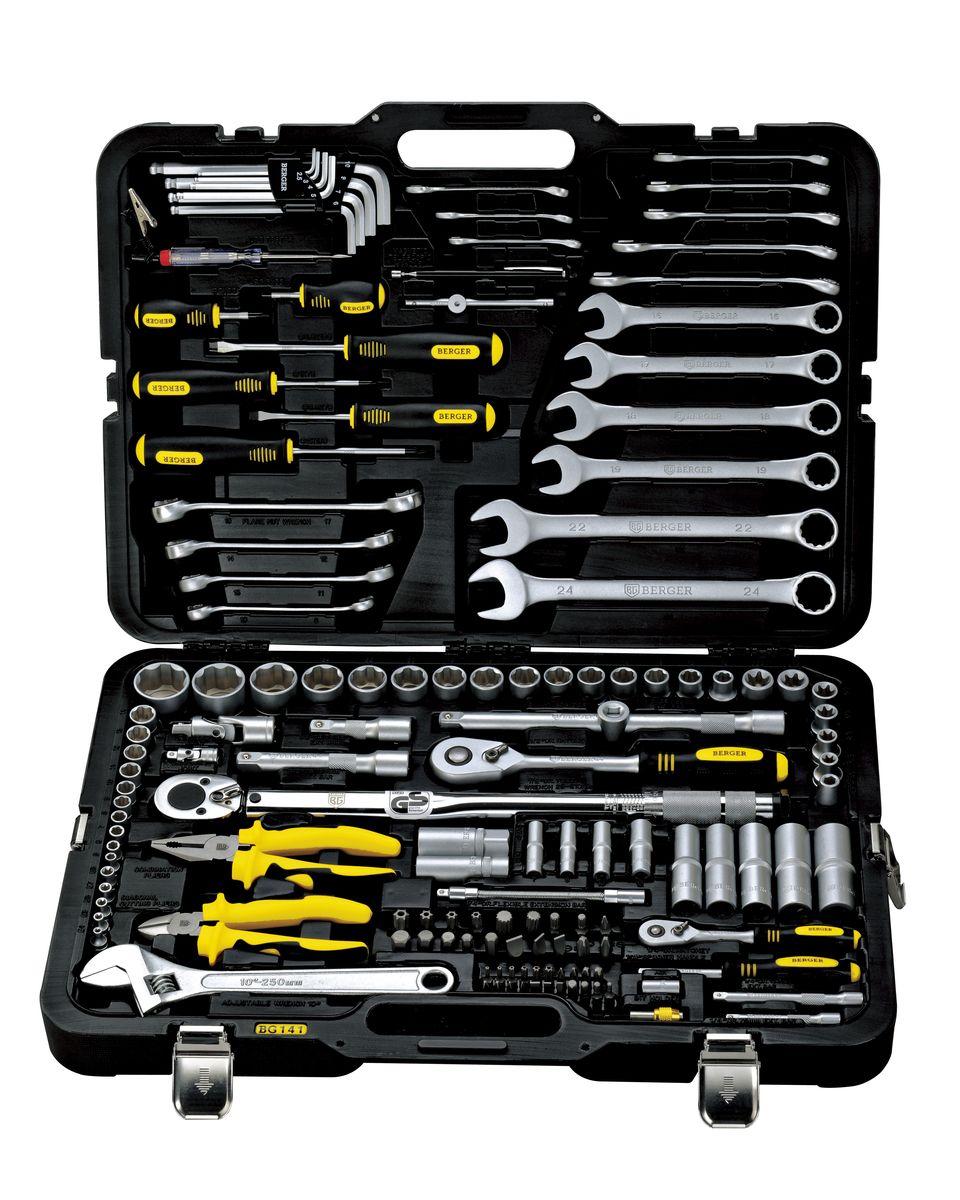 Универсальный набор инструментов Berger, 141 предмет. BG141-1214BG141-1214Универсальный набор инструментов 141 предмет 1/2 - 1/4 BG-141-1214 1/4 1. 10 шт. – 1/4 Головки торцевые 6-гранные Super Lock: 5, 6, 7, 8, 9, 10, 11, 12, 13, 14 мм 2. 4 шт. – 1/4 Головки торцевые длинные 6-гранные Super Lock: 7, 8, 10, 12 мм 3. 5 шт. - 1/4 Головки торцевые TORX (звездочка) 6-гранные: Е4, Е5, Е6, Е7, Е8 4. 1 шт. – 1/4 Трещотка (ключ трещоточный с быстрым сбросом) 45 зубов 5. 1 шт. – 1/4 Отвертка с присоединительным квадратом 6. 2 шт. – 1/4 Удлинитель: 75,100 мм 7. 1 шт. – 1/4 Удлинитель гибкий: 150 мм 8. 1 шт. – 1/4 Кардан шарнирный 9. 1 шт. – 1/4 Вороток Т-образный 110 мм 10. 1 шт. – 1/4 Адаптер для бит 11. 21 шт. – 1/4 Биты: TORX (звездочка): T10, T15, T20, T25, T27, T30 Ph (крест): 2, 0, 1, 2, Pz (позидрайв): 1, 2, 3, 4 SLOT (шлиц): 4, 5, 6.5 HEX (шестигранник): 3, 4, 5, 6 12. 1 шт. – 1/4 Держатель для бит магнитный 1/2 13. 15 шт. – 1/2 Головки торцевые 6-гранные...