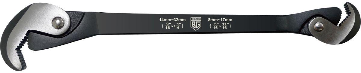 Ключ многофункциональный быстрозажимной Berger. BG-0832QWBG-0832QWКлюч универсальный длина 300 мм подходит для крепежа размером от 8 до 32 мм (Высокопрочная кованная сталь)
