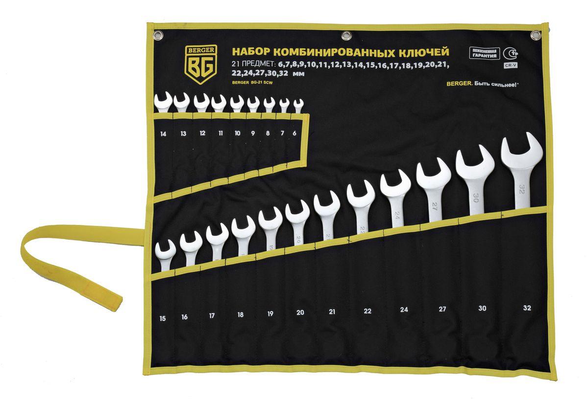 Набор ключей комбинированных Berger, 21 предмет. BG-21SCWBG-21SCWКлючи комбинированные 21 шт. 6, 7, 8, 9, 10, 11, 12, 13, 14, 15, 16, 17, 18, 19, 20, 21, 22, 24, 27, 30, 32 мм