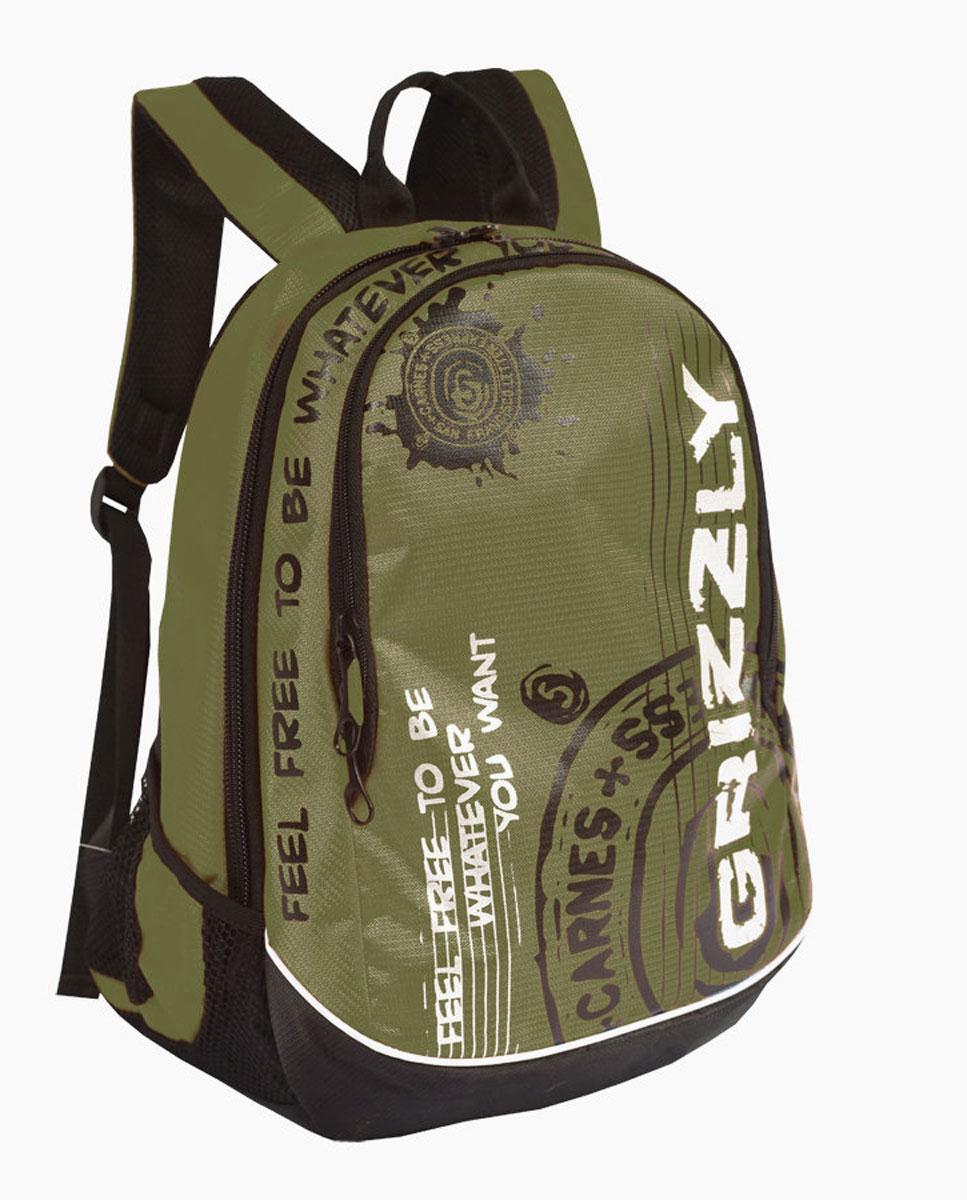 Рюкзак городской Grizzly, цвет: хаки, 18 л. RU-601-3/4RU-601-3/4Рюкзак молодежный, два отделения, боковые карманы из сетки, внутренний карман-пенал для карандашей, внутренний подвесной карман на молнии, анатомическая спинка, дополнительная ручка-петля, укрепленные лямки