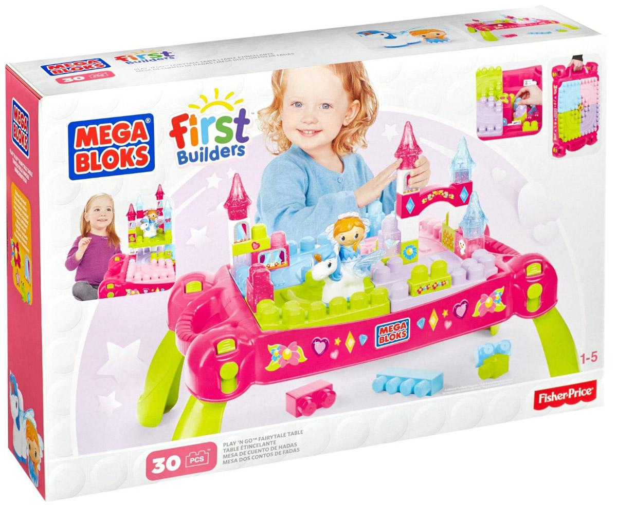 Mega Bloks First Builders Конструктор Набор Принцессы Волшебный столикCXP12Удивительный игровой набор от Mega Bloks создан специально для маленьких принцесс. Удобный столик сконструирован таким образом, что малышкам будет удобно стоить замки и другие постройки из деталей Mega Bloks. В набор входит множество разноцветных деталей, верхушки башен замка,а также фигурки принцессы и пегаса.