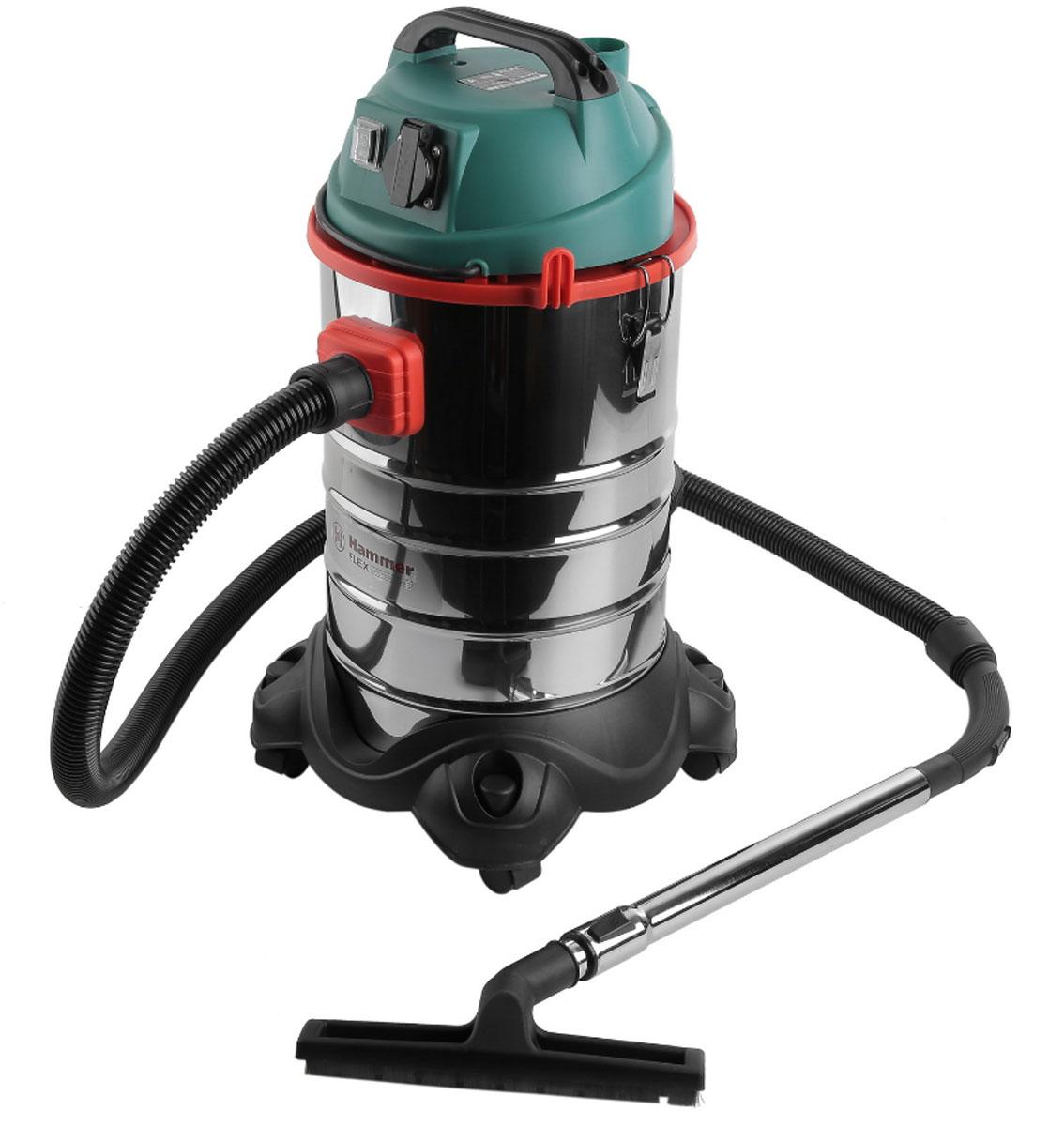Пылесос Hammer Flex PIL30A для сух/вл уборки 1400Вт 30л + розетка для электроинструмента ( 196423 )