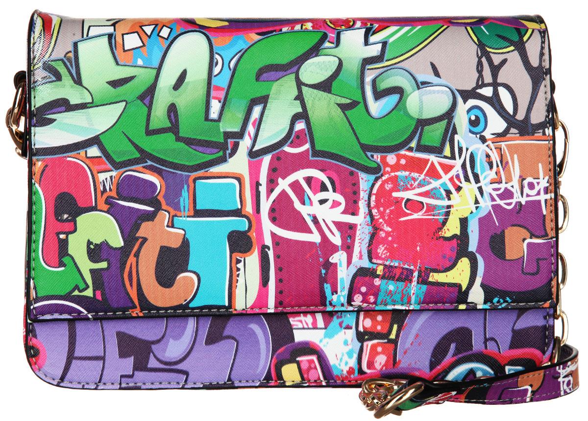 Сумка женская VelVet, цвет: мультиколор. 594-201286-231594-201286-231Оригинальная молодёжная женская сумка VelVet выполнена из искусственной кожи зернистой фактуры и оформлена современным принтом граффити. Сумка состоит из одного основного отделения, закрывающегося на пластиковую застежку-молнию. Внутри врезной карман на молнии и два накладных кармана для телефона и мелочей, также предусмотрен ремешок с кольцом для ключей. По обеим сторонам изделия расположены открытые накладные карманы, дополнительно закрывающиеся на клапан с магнитной кнопкой. На задней стенке предусмотрен врезной карман на молнии. Сумка оснащена двумя съемными плечевыми ремнями, один из которых регулируемой длины, а второй - украшен металлическими цепочками. Прилагается фирменный текстильный чехол для хранения. Оригинальная сумка VelVet дополнит ваш образ и подчеркнет ваше отменное чувство стиля.