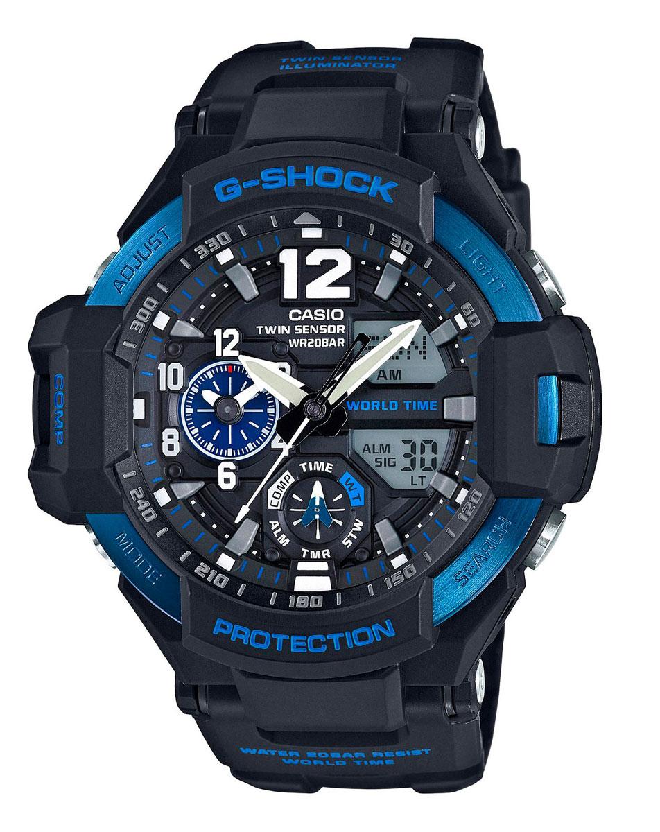 Наручные часы мужские Casio, цвет: черный, синий. GA-1100-2BGA-1100-2B