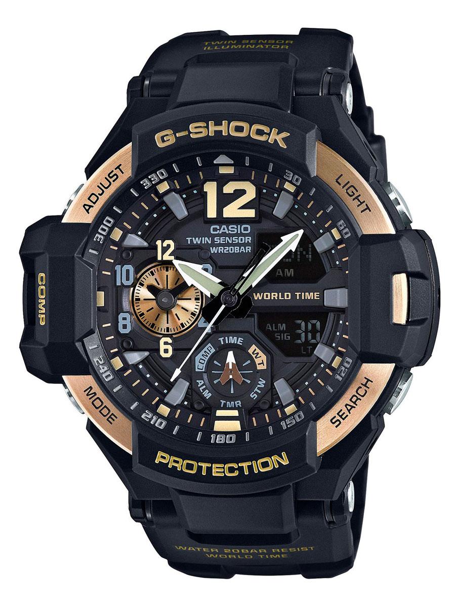Наручные часы мужские Casio, цвет: черный, золотой. GA-1100-9GGA-1100-9G
