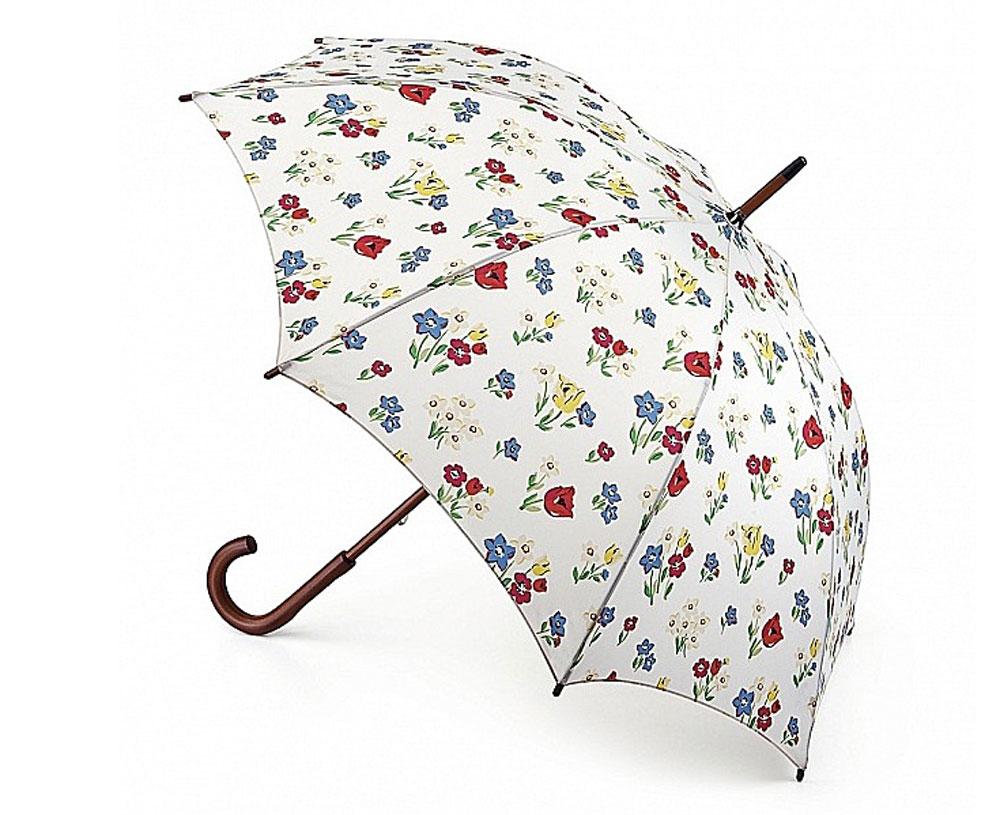 Зонт-трость женский Cath Kidston Kensington, механический, цвет: дымчатый белый. L541-2953L541-2953 ParadiseBunchChalkЯркий механический зонт-трость Cath Kidston Kensington даже в ненастную погоду позволит вам оставаться стильной и элегантной. Каркас зонта включает 8 спиц из фибергласса с деревянным наконечниками. Стержень изготовлен из дерева. Купол зонта выполнен из износостойкого полиэстера и оформлен цветочным принтом. Изделие дополнено удобной рукояткой из гладкого дерева. Зонт механического сложения: купол открывается и закрывается вручную до характерного щелчка. Модель дополнительно застегивается с помощью двух хлястиков: на кнопку и липучку с декоративной пуговицей. Такой зонт не только надежно защитит вас от дождя, но и станет стильным аксессуаром, который идеально подчеркнет ваш неповторимый образ.