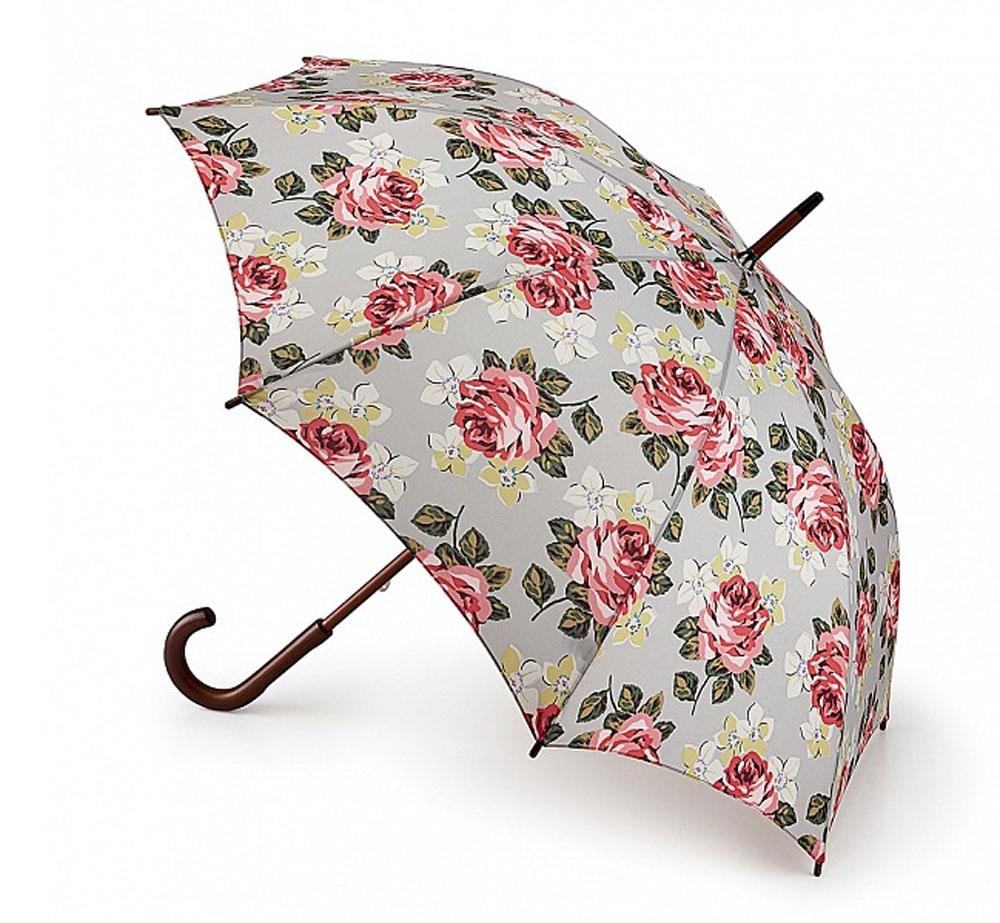 Зонт-трость женский Cath Kidston Kensington, механический, цвет: светло-серый, розовый, зеленый. L541-3143L541-3143 RichmondRoseЯркий механический зонт-трость Cath Kidston Kensington даже в ненастную погоду позволит вам оставаться стильной и элегантной. Каркас зонта включает 8 спиц из фибергласса с деревянным наконечниками. Стержень изготовлен из дерева. Купол зонта выполнен из износостойкого полиэстера и оформлен цветочным принтом. Изделие дополнено удобной рукояткой из гладкого дерева. Зонт механического сложения: купол открывается и закрывается вручную до характерного щелчка. Модель дополнительно застегивается с помощью двух хлястиков: на кнопку и липучку с декоративной пуговицей. Такой зонт не только надежно защитит вас от дождя, но и станет стильным аксессуаром, который идеально подчеркнет ваш неповторимый образ.