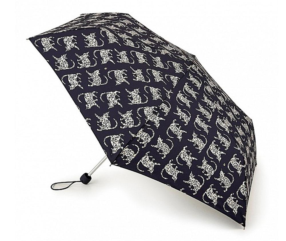 """Зонт женский Fulton """"Superslim"""", механический, 3 сложения, цвет: темно-синий, белый, светло-бежевый. L553-3161"""