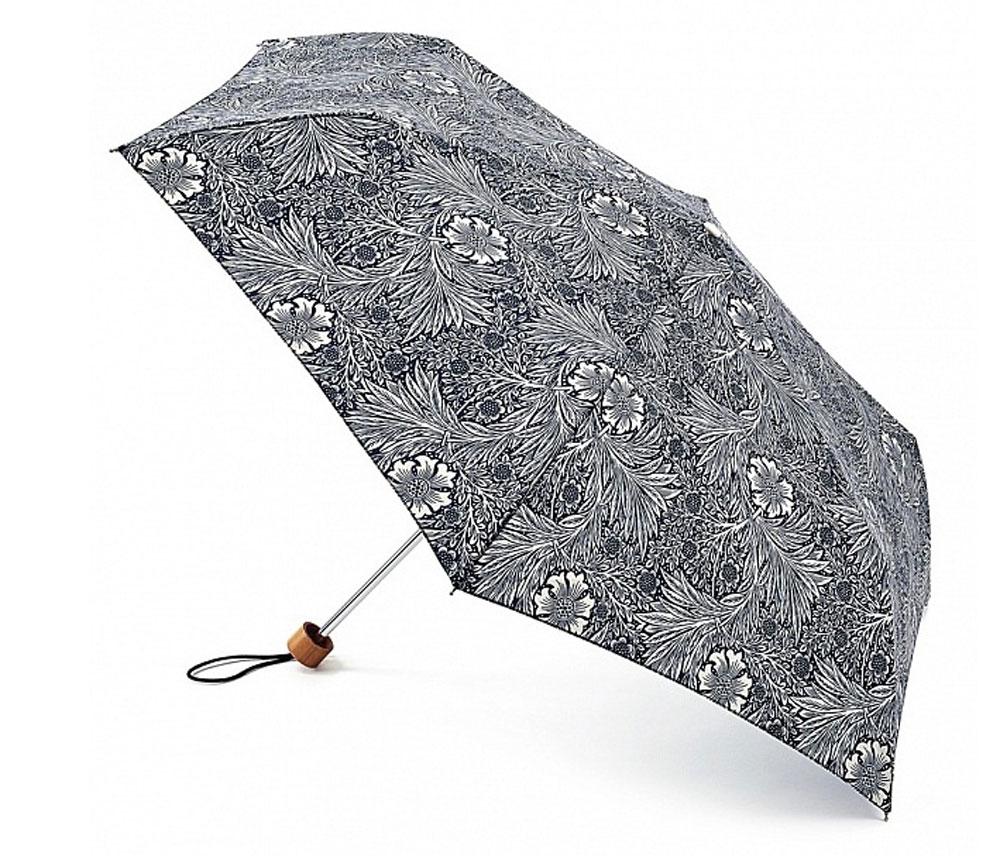 Зонт женский Morris & Co Superslim, механический, 3 сложения, цвет: темно-синий, дымчатый белый. L714-2797L714-2797 MarigoldСтильный механический зонт Morris & Co Superslim в 3 сложения даже в ненастную погоду позволит вам оставаться элегантной. Облегченный каркас зонта выполнен из 6 спиц из фибергласса и алюминия, стержень также изготовлен из алюминия, удобная рукоятка - из дерева. Купол зонта выполнен из прочного полиэстера и оформлен оригинальным цветочным принтом. В закрытом виде застегивается хлястиком на липучку. Зонт механического сложения: купол открывается и закрывается вручную до характерного щелчка. На рукоятке для удобства есть небольшой шнурок, позволяющий при необходимости надеть зонт на руку. К зонту прилагается чехол, который дополнительно застегивается на липучку. Такой зонт компактно располагается в глубоком кармане, сумочке, дверке автомобиля.