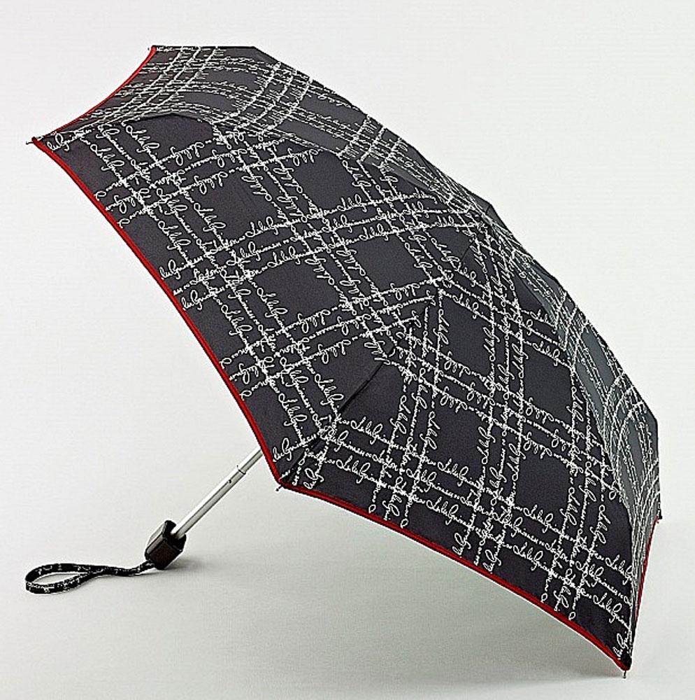 Зонт женский Lulu Guinness Tiny, механический, 5 сложений, цвет: черный, бежевый. L717-2404L717-2404 SayingsPlaidСтильный механический зонт Lulu Guinness Tiny в 5 сложений даже в ненастную погоду позволит вам оставаться элегантной. Облегченный каркас зонта выполнен из 6 спиц из фибергласса и алюминия, стержень также изготовлен из алюминия, удобная рукоятка - из пластика. Купол зонта выполнен из прочного полиэстера. В закрытом виде застегивается хлястиком на кнопке. Яркий оригинальный принт в виде надписей поднимет настроение в дождливый день. Зонт механического сложения: купол открывается и закрывается вручную до характерного щелчка. На рукоятке для удобства есть небольшой шнурок, позволяющий надеть зонт на руку тогда, когда это будет необходимо. К зонту прилагается чехол, который оформлен нашивкой с названием бренда. Такой зонт компактно располагается в кармане, сумочке, дверке автомобиля.
