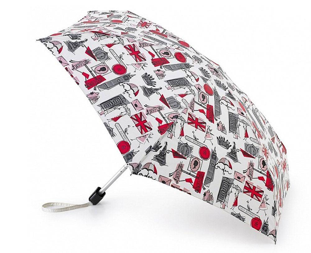 Зонт женский Lulu Guinness Tiny, механический, 5 сложений, цвет: бежевый, мультиколор. L717-2551L717-2551 LondonPrintGreyСтильный механический зонт Lulu Guinness Tiny в 5 сложений даже в ненастную погоду позволит вам оставаться элегантной. Облегченный каркас зонта выполнен из 6 спиц из фибергласса и алюминия, стержень также изготовлен из алюминия, удобная рукоятка - из пластика. Купол зонта выполнен из прочного полиэстера. В закрытом виде застегивается хлястиком на кнопке. Яркий оригинальный рисунок с лондонскими мотивами поднимет настроение в дождливый день. Зонт механического сложения: купол открывается и закрывается вручную до характерного щелчка. На рукоятке для удобства есть небольшой шнурок, позволяющий надеть зонт на руку тогда, когда это будет необходимо. К зонту прилагается чехол, который оформлен нашивкой с названием бренда. Такой зонт компактно располагается в кармане, сумочке, дверке автомобиля.