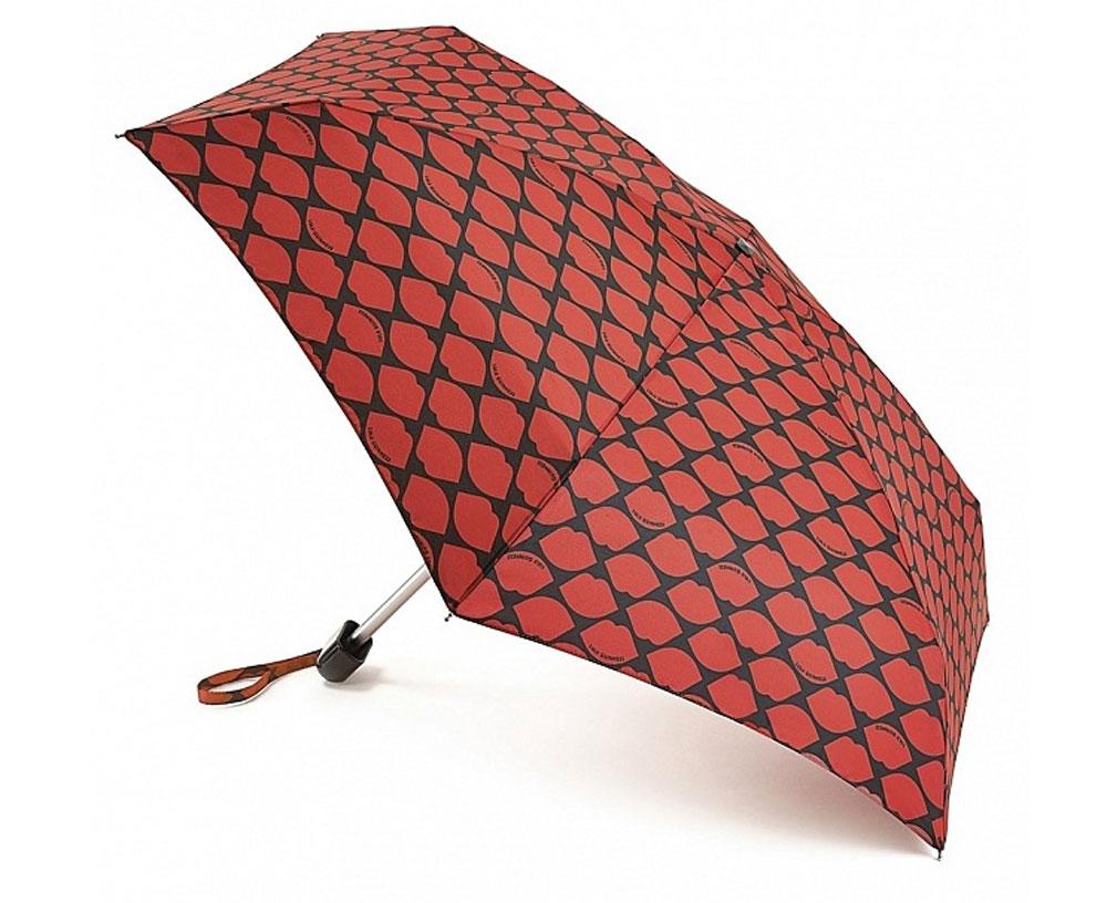 Зонт женский Fulton Lulu Guinness, механический, 5 сложений, цвет: черный, темно-красный. L717-2681L717-2681 LipsGridRedСтильный механический зонт Fulton Lulu Guinness в 5 сложений даже в ненастную погоду позволит вам оставаться элегантной. Облегченный каркас зонта выполнен из 6 спиц из фибергласса и алюминия, стержень также изготовлен из алюминия, удобная рукоятка - из пластика. Купол зонта выполнен из прочного полиэстера. В закрытом виде застегивается хлястиком на липучке. Яркий оригинальный принт в виде изображения губ поднимет настроение в дождливый день. Зонт механического сложения: купол открывается и закрывается вручную до характерного щелчка. На рукоятке для удобства есть небольшой шнурок, позволяющий надеть зонт на руку тогда, когда это будет необходимо. К зонту прилагается чехол с небольшой нашивкой с названием бренда. Такой зонт компактно располагается в кармане, сумочке, дверке автомобиля.
