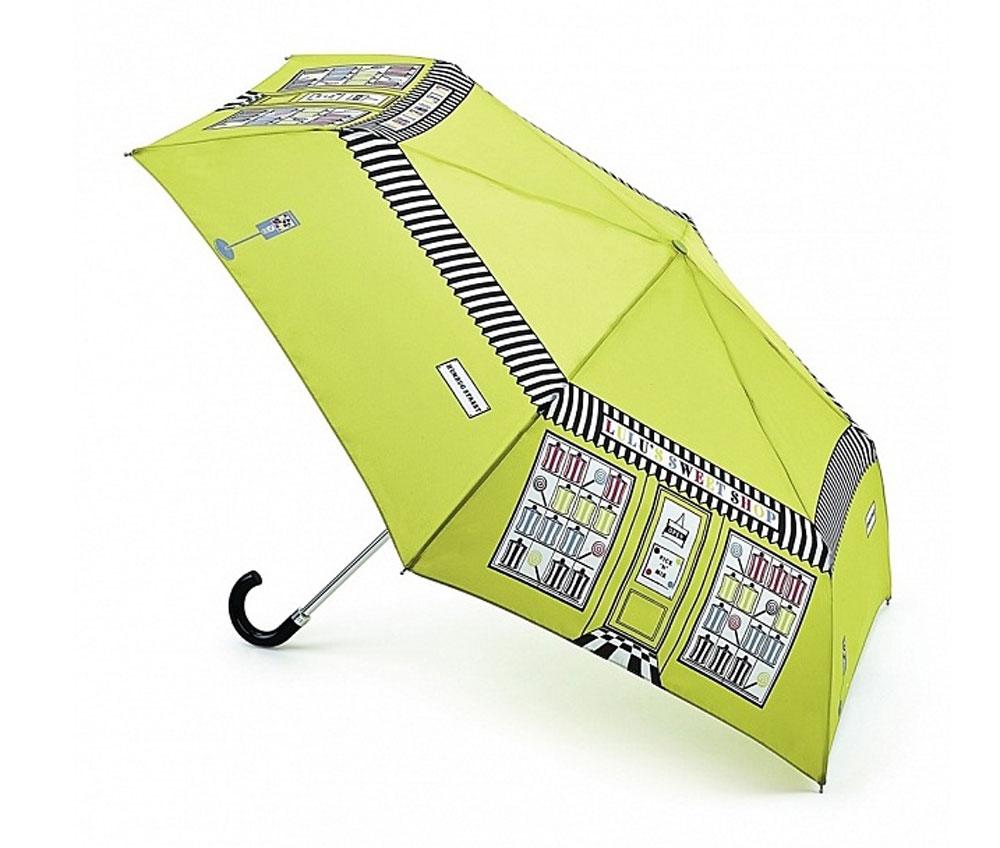 Зонт женский Lulu Guinness Superslim, механический, 3 сложения, цвет: черный, белый, салатовый. L718-2788L718-2788 SweetShopСтильный механический зонт Lulu Guinness Superslim в 3 сложения даже в ненастную погоду позволит вам оставаться элегантной. Облегченный каркас зонта выполнен из 6 спиц из фибергласса и алюминия, стержень также изготовлен из алюминия, удобная рукоятка - из пластика. Купол зонта изготовлен из прочного полиэстера и имеет оригинальный дизайн. В закрытом виде застегивается хлястиком на кнопку. Зонт механического сложения: купол открывается и закрывается вручную до характерного щелчка. К зонту прилагается чехол, который дополнительно застегивается на липучку. Такой зонт компактно располагается в глубоком кармане, сумочке, дверке автомобиля.