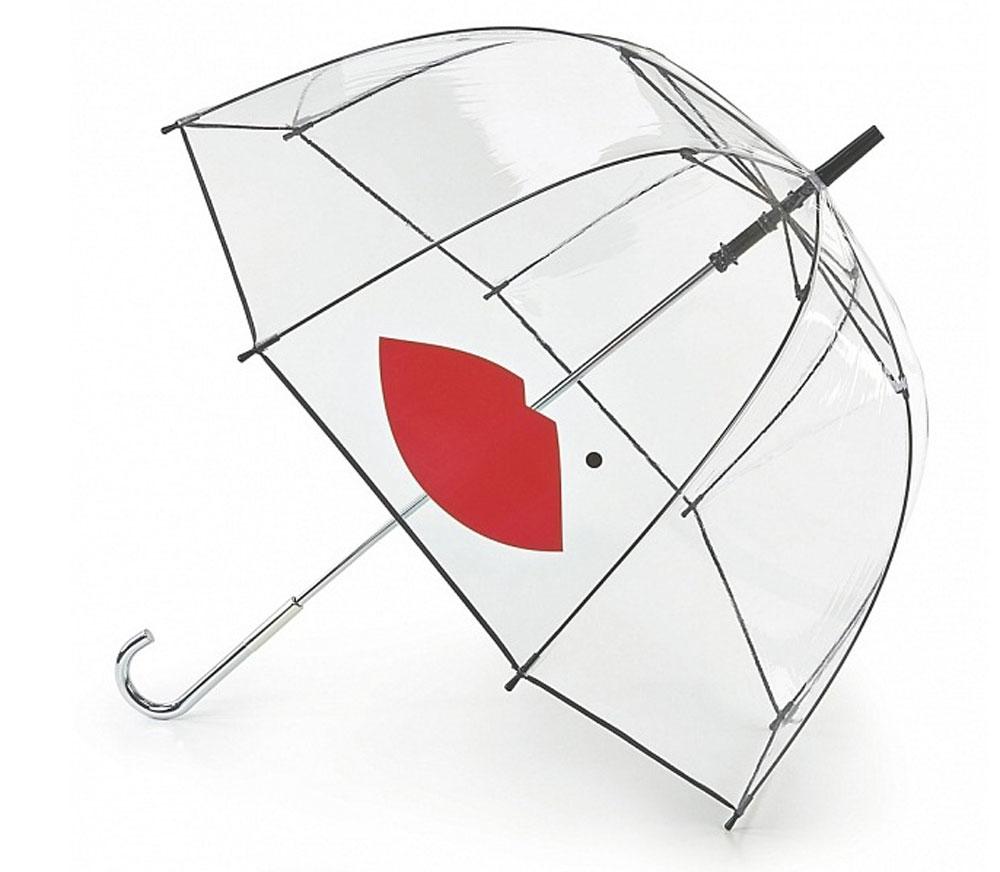 Зонт-трость женский Lulu Guinness Birdcage, механический, цвет: прозрачный, черный, красный. L719-2879L719-2879 AbstractLipsНеобычный механический зонт-трость Lulu Guinness Birdcage даже в ненастную погоду позволит вам оставаться модной и элегантной. Каркас зонта включает 8 спиц из фибергласса с пластиковыми наконечниками. Стержень изготовлен из стали. Купол зонта выполнен из высококачественного прозрачного ПВХ и оформлен принтом в виде губок с кокетливой родинкой и кантом по краю. Изделие дополнено удобной пластиковой рукояткой с металлическим элементом. Зонт механического сложения: купол открывается и закрывается вручную до характерного щелчка. Модель дополнительно застегивается с помощью хлястика на кнопку. Такой зонт не только надежно защитит вас от дождя, но и станет стильным аксессуаром, который идеально подчеркнет ваш неповторимый образ.
