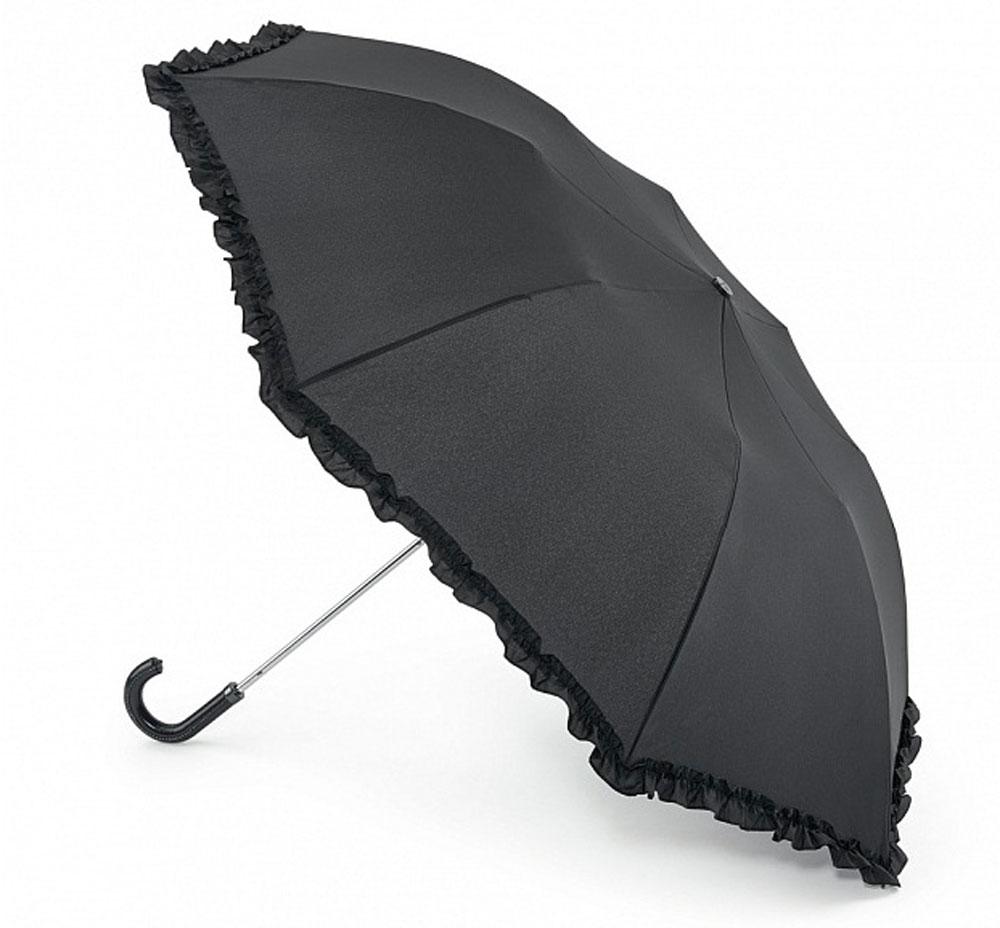 Зонт женский Fulton Contessa-2, механический, 2 сложения, цвет: черный. L731-2635L731-2635 SequinBlackСтильный механический зонт Fulton Contessa-2 в 2 сложения даже в ненастную погоду позволит вам оставаться элегантной. Облегченный каркас зонта выполнен из 8 стальных спиц, стержень также изготовлен из стали, удобная рукоятка - из пластика, обтянутого натуральной кожей. Купол зонта выполнен из прочного полиэстера и оформлен по краю оборкой. В закрытом виде застегивается хлястиком на липучку, декорированном пайетками. Зонт механического сложения: купол открывается и закрывается вручную до характерного щелчка. К зонту прилагается чехол на кнопке, украшенный пайетками. Такой зонт станет прекрасным аксессуаром для любой модницы.