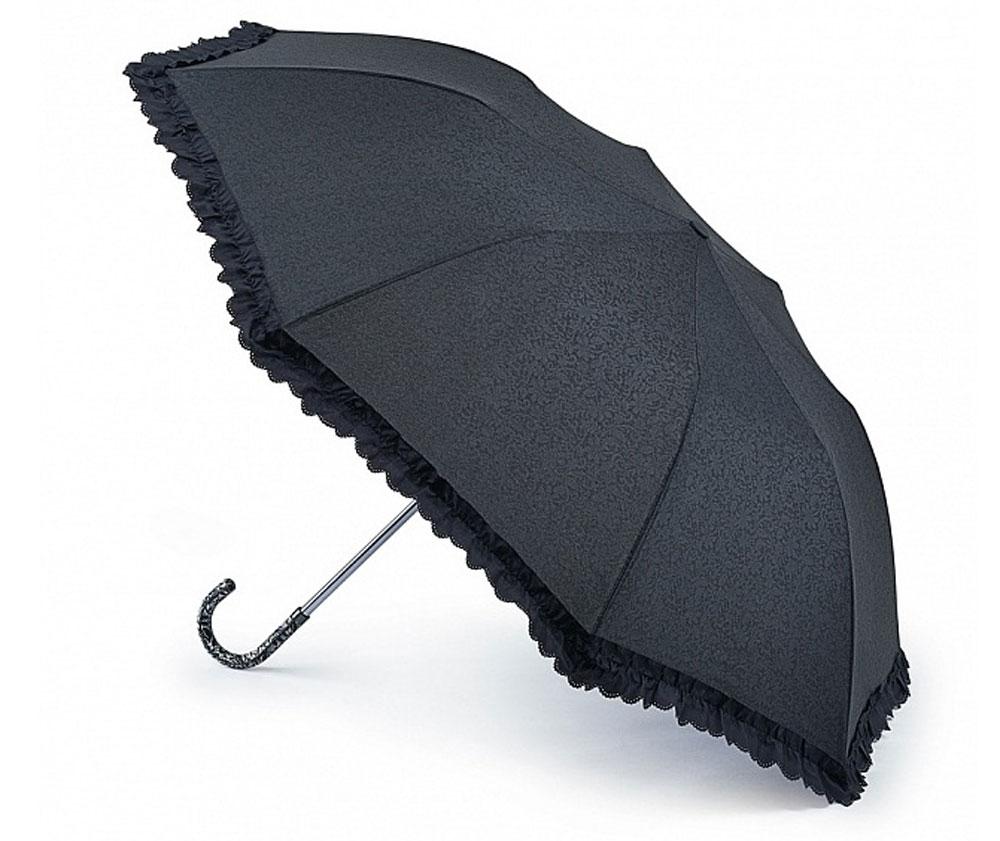 Зонт женский Fulton Contessa-2, механический, 2 сложения, цвет: черный. L731-2761L731-2761 EmbossedСтильный механический зонт Fulton Contessa-2 в 2 сложения даже в ненастную погоду позволит вам оставаться элегантной. Облегченный каркас зонта выполнен из 8 стальных спиц, стержень также изготовлен из стали, удобная рукоятка - из пластика, обтянутого натуральной кожей. Купол зонта выполнен из прочного полиэстера и оформлен изящным принтом и по краю декорирован оборкой. В закрытом виде застегивается хлястиком на липучку. Зонт механического сложения: купол открывается и закрывается вручную до характерного щелчка. К зонту прилагается чехол на кнопке. Такой зонт станет прекрасным аксессуаром для любой модницы.