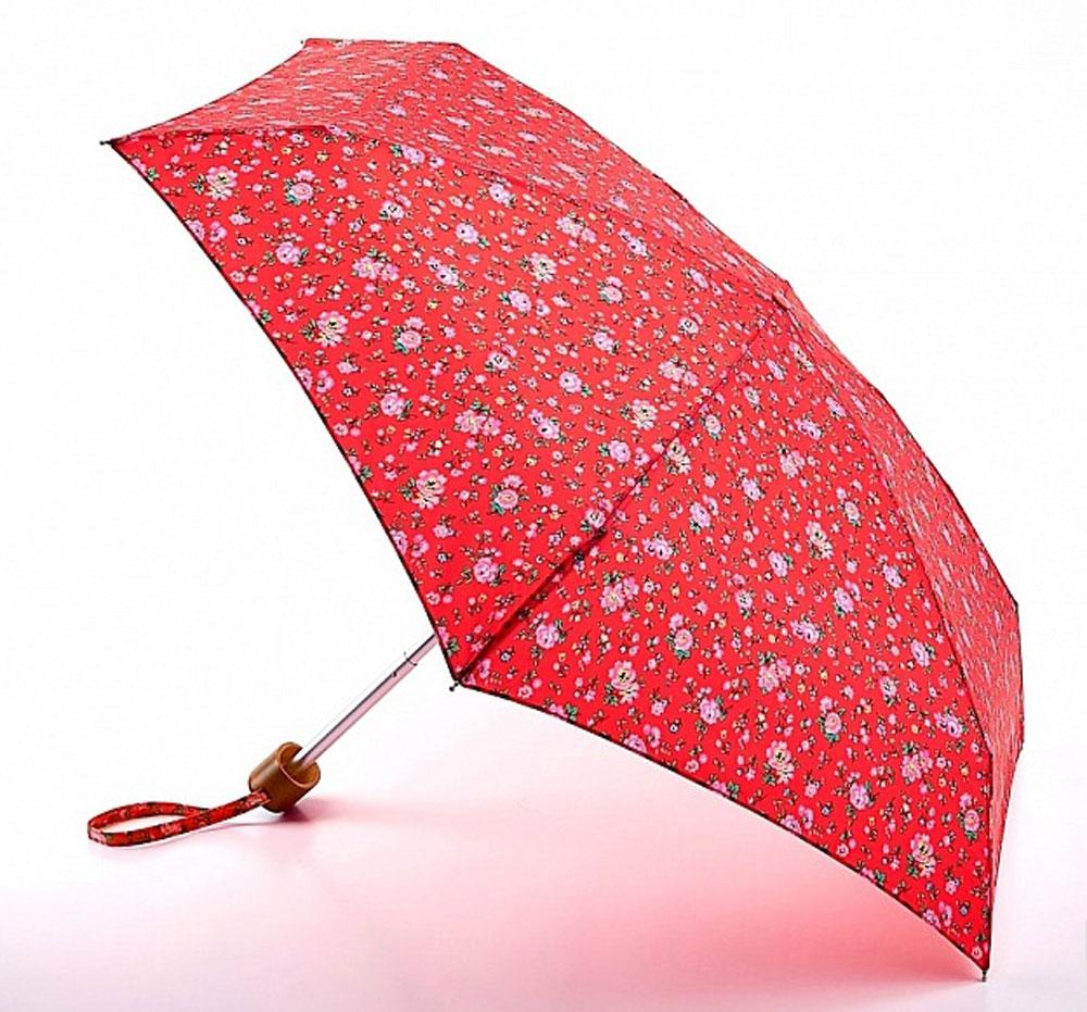 Зонт женский Cath Kidston Tiny, механический, 5 сложений, цвет: красный. L739-3063L739-3063 BramleySprigSmallRedСтильный механический зонт Cath Kidston Tiny в 5 сложений даже в ненастную погоду позволит вам оставаться элегантной. Облегченный каркас зонта выполнен из 6 спиц из фибергласса и алюминия, стержень также изготовлен из алюминия, удобная рукоятка - из пластика. Купол зонта выполнен из прочного полиэстера и оформлен мелким цветочным принтом. В закрытом виде застегивается хлястиком на липучку. Зонт механического сложения: купол открывается и закрывается вручную до характерного щелчка. На рукоятке для удобства есть небольшой шнурок, позволяющий при необходимости надеть зонт на руку. К зонту прилагается чехол, оформленный нашивкой с названием бренда. Изделие упаковано в подарочную коробку. Такой зонт компактно располагается в кармане, сумочке, дверке автомобиля.