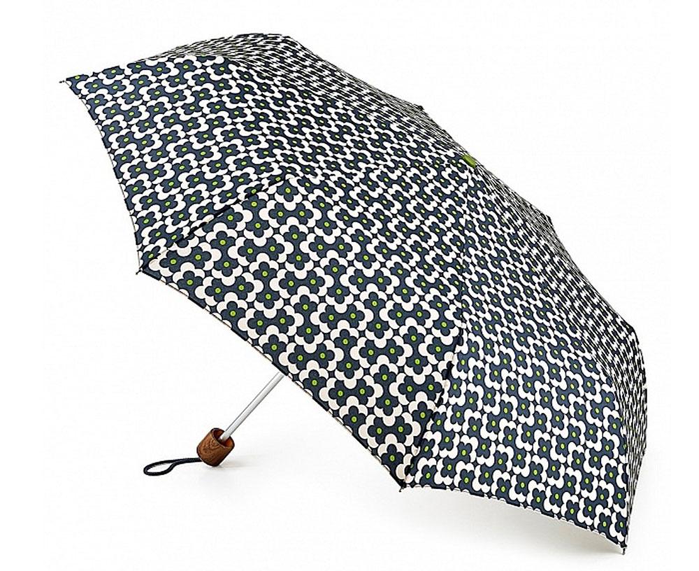 Зонт женский Orla Kiely Minilite, механический, 3 сложения, цвет: темно-синий, белый, зеленый. L743-3115L743-3115 FlowerShadowDotInkСтильный механический зонт Orla Kiely Minilite в 3 сложения даже в ненастную погоду позволит вам оставаться элегантной. Каркас зонта выполнен из 8 спиц из фибергласса и алюминия, стержень также изготовлен из алюминия, удобная рукоятка - из дерева. Купол зонта выполнен из прочного полиэстера. В закрытом виде застегивается хлястиком на липучке. Яркий оригинальный цветочный рисунок поднимет настроение в дождливый день. Зонт механического сложения: купол открывается и закрывается вручную до характерного щелчка. На рукоятке для удобства есть небольшой шнурок, позволяющий надеть зонт на руку тогда, когда это будет необходимо. К зонту прилагается чехол, который оформлен нашивкой с названием бренда. Такой зонт компактно располагается в кармане, сумочке, дверке автомобиля.