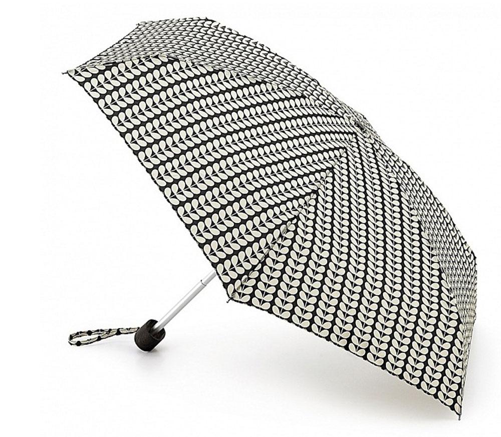 Зонт женский Orla Kiely Tiny, механический, 5 сложений, цвет: черный, бежевый. L744-2086L744-2086 Bi-ColourStemСтильный механический зонт Orla Kiely Tiny в 5 сложений даже в ненастную погоду позволит вам оставаться элегантной. Облегченный каркас зонта выполнен из 6 спиц из фибергласса и алюминия, стержень также изготовлен из алюминия, удобная рукоятка - из дерева. Купол зонта выполнен из прочного полиэстера. В закрытом виде застегивается хлястиком на липучке. Яркий оригинальный рисунок в виде листиков поднимет настроение в дождливый день. Зонт механического сложения: купол открывается и закрывается вручную до характерного щелчка. На рукоятке для удобства есть небольшой шнурок, позволяющий надеть зонт на руку тогда, когда это будет необходимо. К зонту прилагается чехол с небольшой нашивкой с названием бренда.