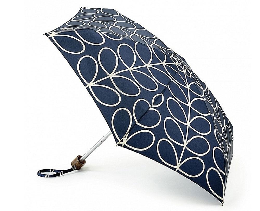 Зонт женский Orla Kiely Tiny, механический, 5 сложений, цвет: темно-синий, бежевый. L744-2778L744-2778 LinearLeafСтильный механический зонт Orla Kiely Tiny в 5 сложений даже в ненастную погоду позволит вам оставаться элегантной. Облегченный каркас зонта выполнен из 6 спиц из фибергласса и алюминия, стержень также изготовлен из алюминия, удобная рукоятка - из дерева. Купол зонта выполнен из прочного полиэстера. В закрытом виде застегивается хлястиком на липучке. Яркий оригинальный рисунок в виде оригинальных листьев поднимет настроение в дождливый день. Зонт механического сложения: купол открывается и закрывается вручную до характерного щелчка. На рукоятке для удобства есть небольшой шнурок, позволяющий надеть зонт на руку тогда, когда это будет необходимо. К зонту прилагается чехол, который оформлен нашивкой с названием бренда. Такой зонт компактно располагается в кармане, сумочке, дверке автомобиля.