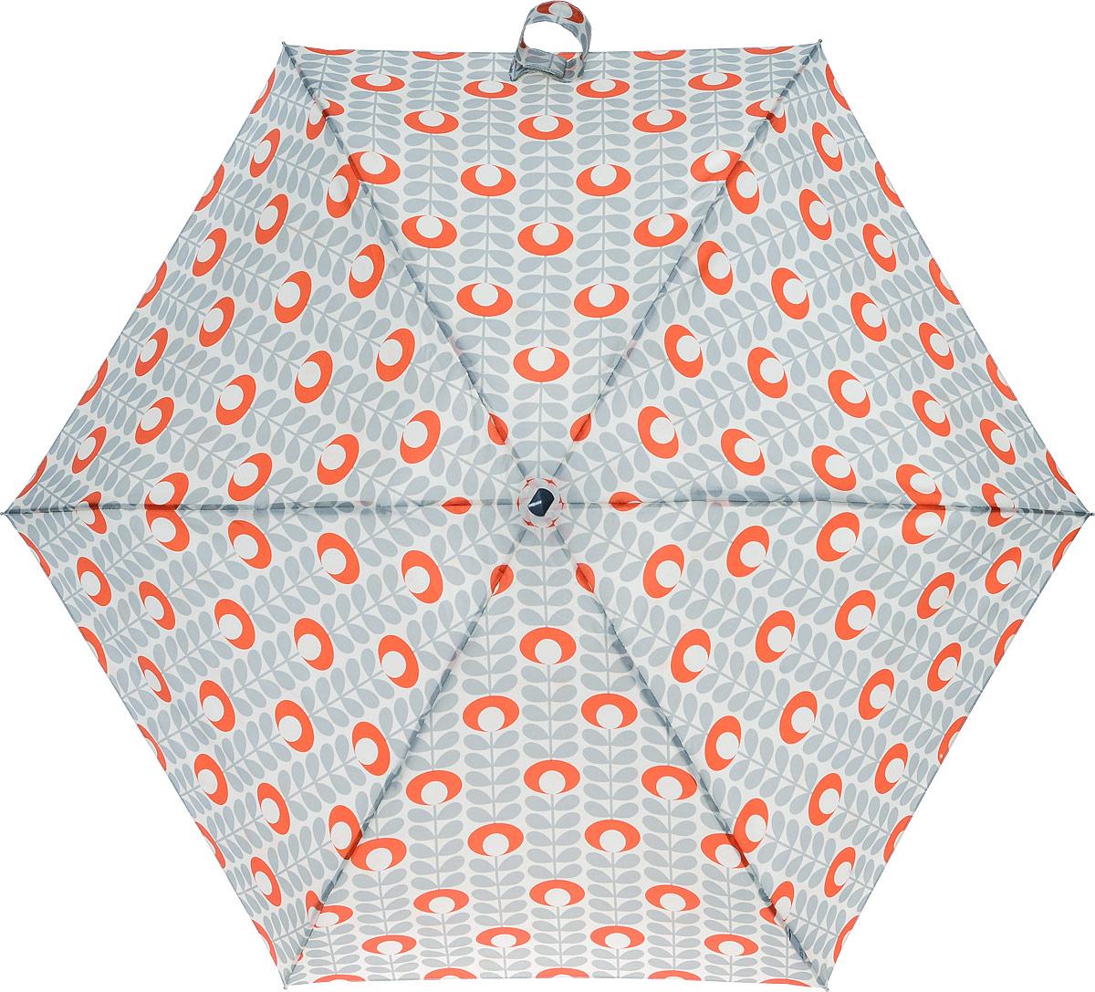 Зонт женский Orla Kiely Tiny, механический, 5 сложений, цвет: бежевый, серый, оранжевый. L744-3209L744-3209 FlowerOvalStemTomatoСтильный механический зонт Orla Kiely Tiny в 5 сложений даже в ненастную погоду позволит вам оставаться элегантной. Облегченный каркас зонта выполнен из 6 спиц из фибергласса и алюминия, стержень также изготовлен из алюминия, удобная рукоятка - из дерева. Купол зонта выполнен из прочного полиэстера. В закрытом виде застегивается хлястиком на липучке. Яркий оригинальный рисунок в виде оригинальных листьев поднимет настроение в дождливый день. Зонт механического сложения: купол открывается и закрывается вручную до характерного щелчка. На рукоятке для удобства есть небольшой шнурок, позволяющий надеть зонт на руку тогда, когда это будет необходимо. К зонту прилагается чехол, который оформлен нашивкой с названием бренда. Такой зонт компактно располагается в кармане, сумочке, дверке автомобиля.